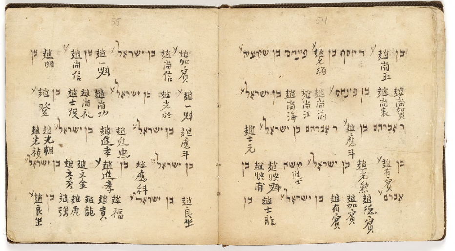 Ming dynasty Sabbath prayer book with men's names —from the Zhao clan, in Hebrew and Chinese. Collection from the Hebrew Union College in Cincinnati, Ohio.  [huc.edu]