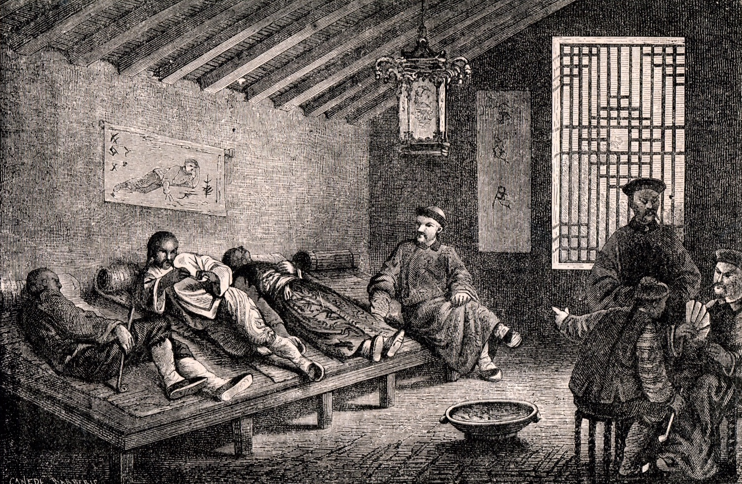 An opium den in China.  [Public Domain]
