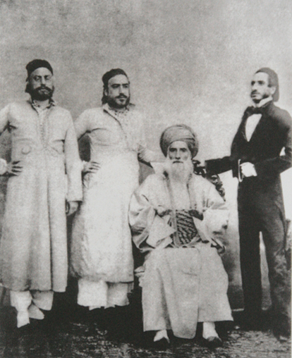 David Sassoon (seated) and his sons Elias David, Albert (Abdallah) & Sassoon David.  [Public Domain]