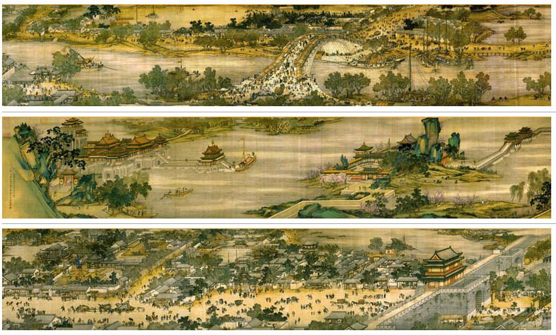 Parts of the Qingming Shanghe Tu (清明上河图), a Song dynasty artwork depicting life in the bustling city of Kaifeng. It is the most renowned of all Chinese paintings, holding the status equivalent to Mona Lisa of the West in China. Original scroll measured 24.8 x 528 cm, capturing the daily life of over 500 people.  [Public Domain]