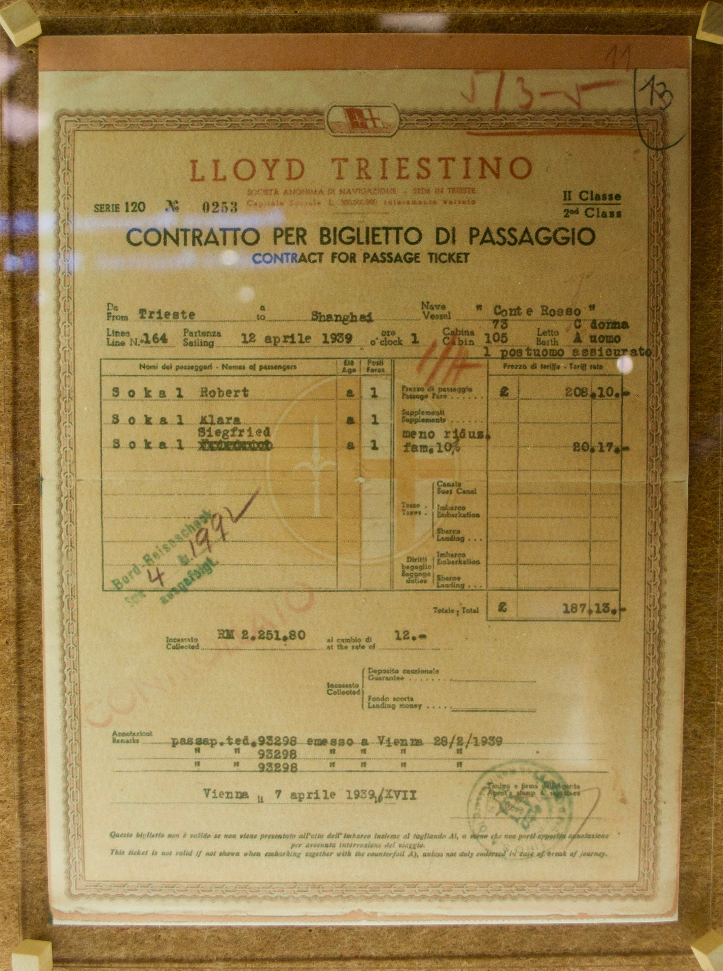 Passenger ticket for the Lloyd Triestino. [Shanghai Jewish Refugees Museum]