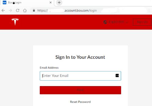 Screenshot of Box Enterprise Sign On page