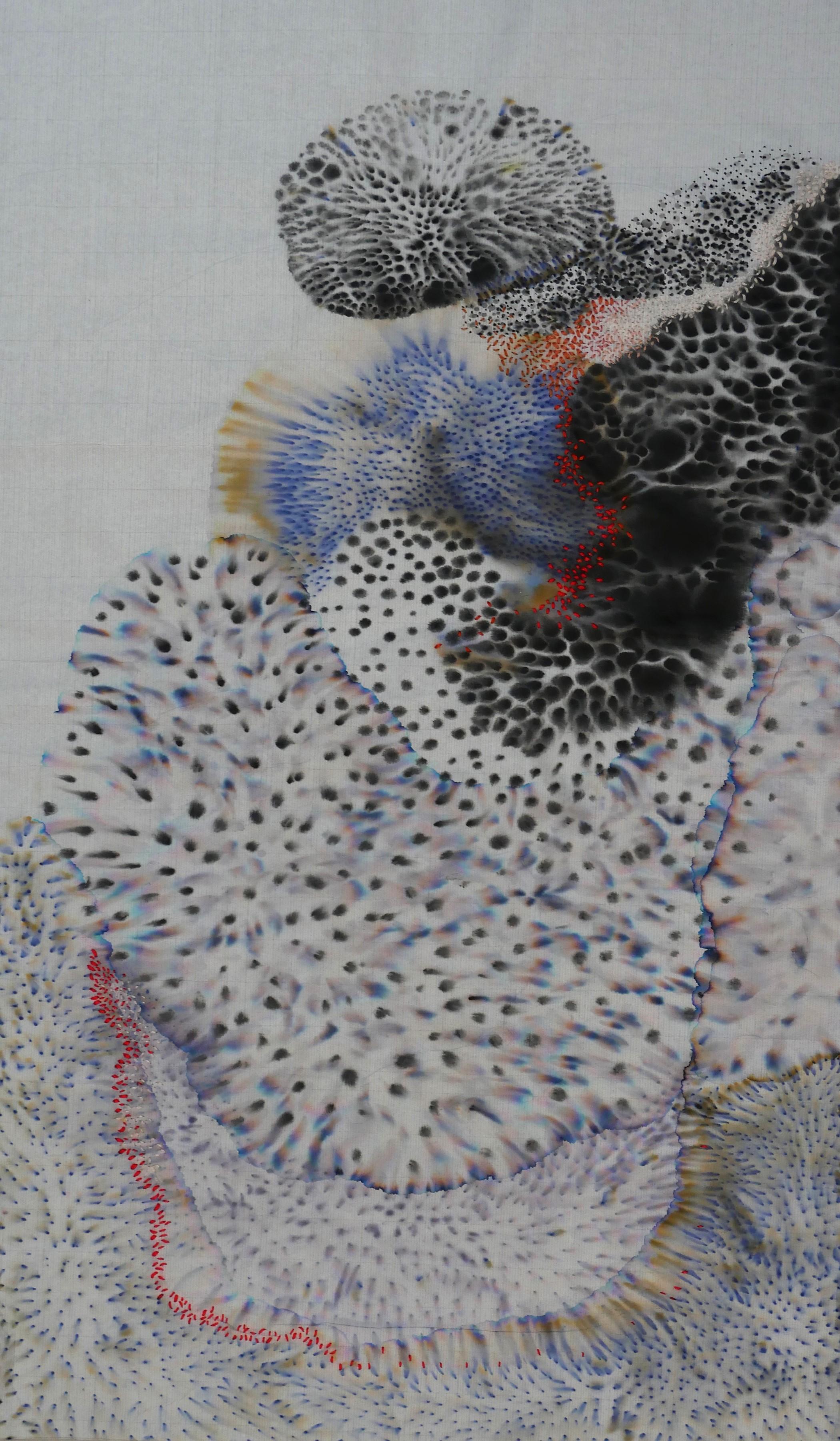 Sabatina Leccia et Alix Waline      Algae , 2019  Tryptique, papier coréen, encre, broderie  61cm x 36,5cm x 3cm    Prix : 6 000€ ( 2 200€ pièce)