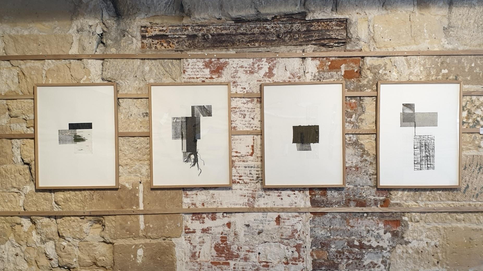 Série Intersections, 2018 - Collage, gravure sur papier Japon, dessin, tissage (nylon, laine, coton, polyester)