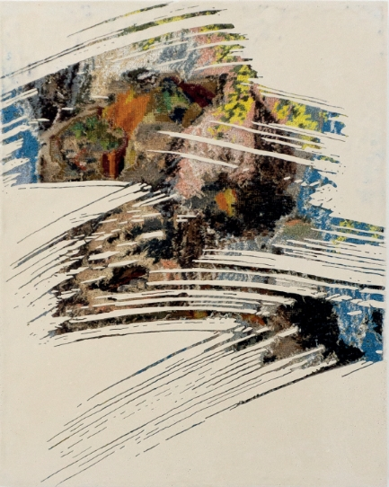 Sans titre, 2016 - canevas chinés, résine, gravure manuelle, sur bois. 62x49 cm.