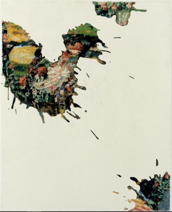 Drops 4, 2017 - canevas chinés, résine, gravure manuelle, sur bois. 62x49 cm