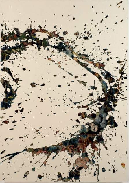 Eclaboussure 10, 2018 - canevas chinés, resine, gravure manuelle, sur bois. 135x95 cm