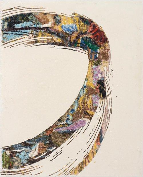 Paintstroke 8, 2015 - canevas chinés, resine, gravure manuelle, sur bois. 48x38 cm.