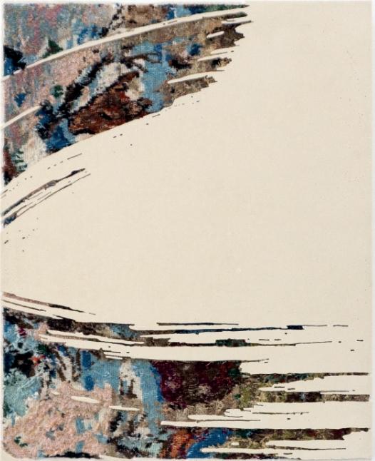 Paintstroke 9, 2016 - canevas chinés, resine, gravure manuelle, sur bois. 48x38 cm.
