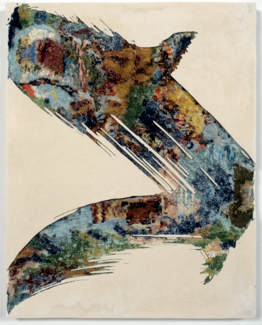 Paintstroke 5, 2014 - , canevas chinés, résine, gravure manuelle, sur bois. 48x38 cm.