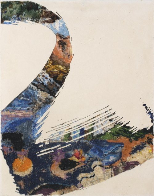 Paintstroke 6, 2014 - canevas chinés, resine, gravure manuelle, sur bois. 48x38 cm.