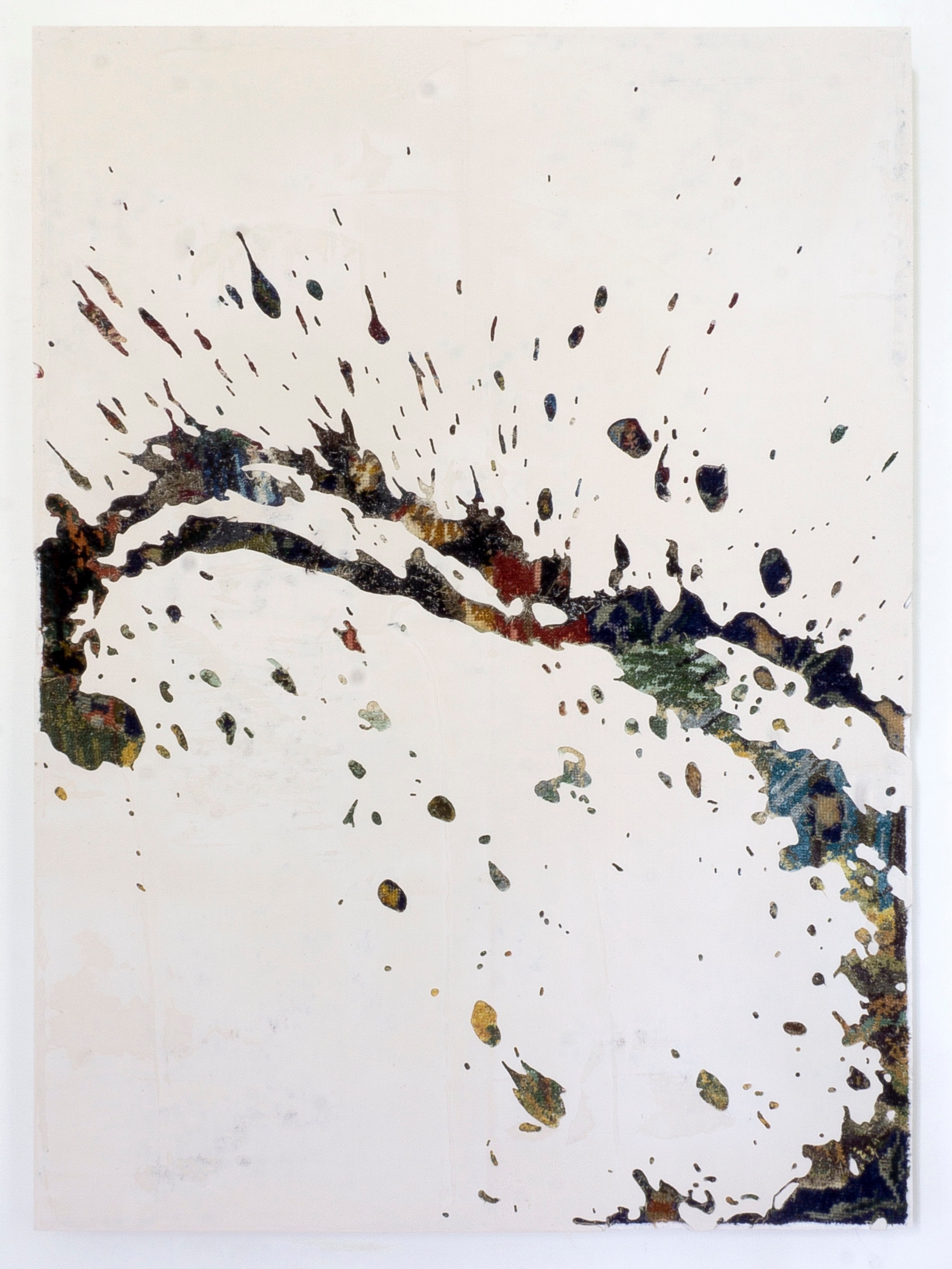 Aspersion 3, 2019 - canevas chinés, résine, gravure manuelle, sur bois. 90x65cm.