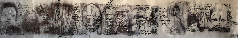 Popy-Loly De Monteysson ; Tchikouti, 2018  Encre de Chien, stylo bille, feuille d'or, fils or et argent, perles, plumes, sur papier calque et organdi  37cm x 235cm x 0,1cm ; Prix: 2 800€