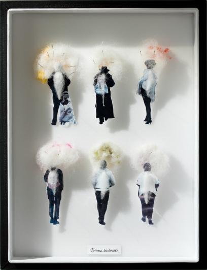 Lorka   Brumes bavardes, 2018  Photo, fils, épingles, laine 30cm x 23cm x 5,5cm