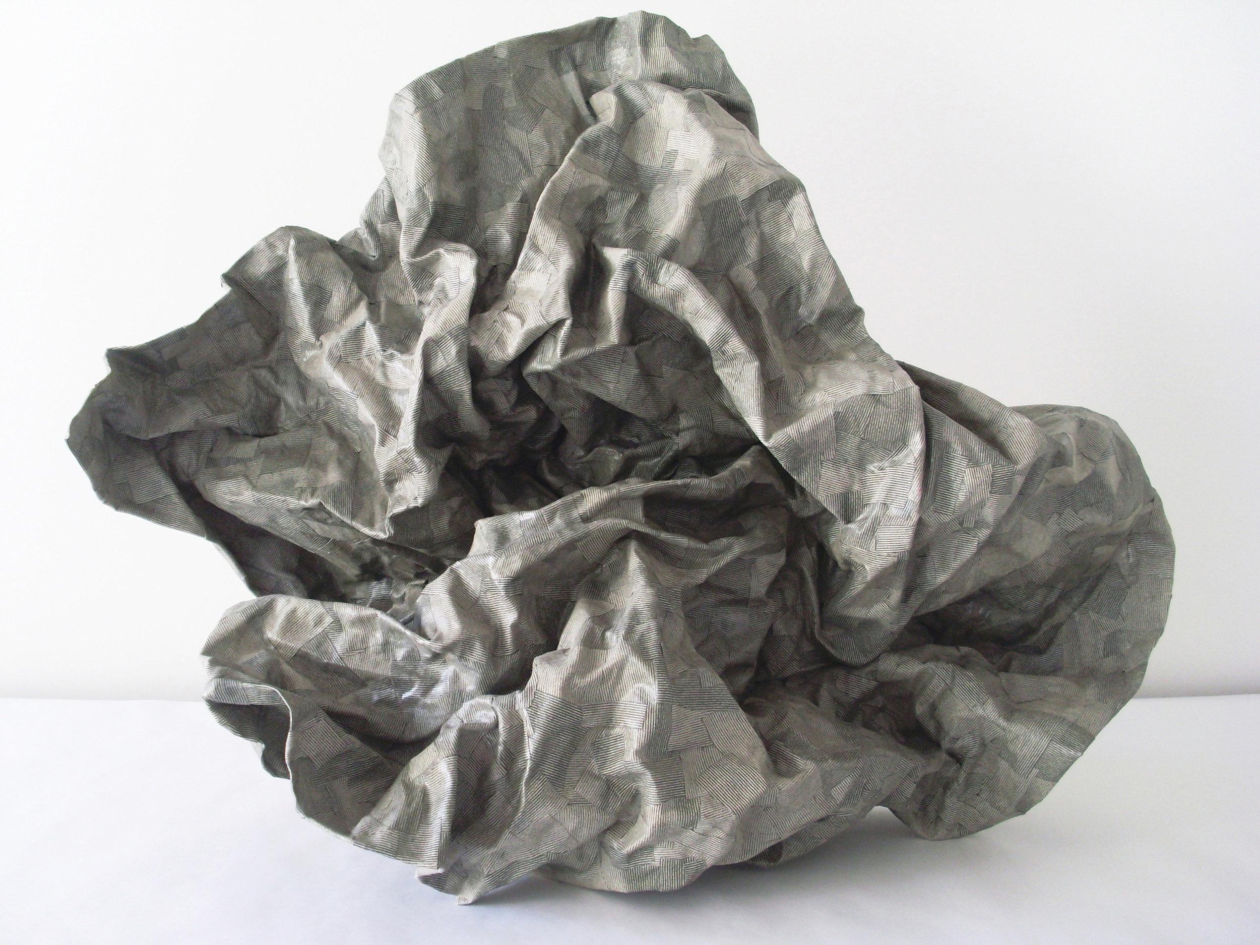 Emma Nony     Etude pour une figure ailée  , 2015  Collage sur papier de morceaux de tissu récupéré  56 cm x 26 cm x 47 cm