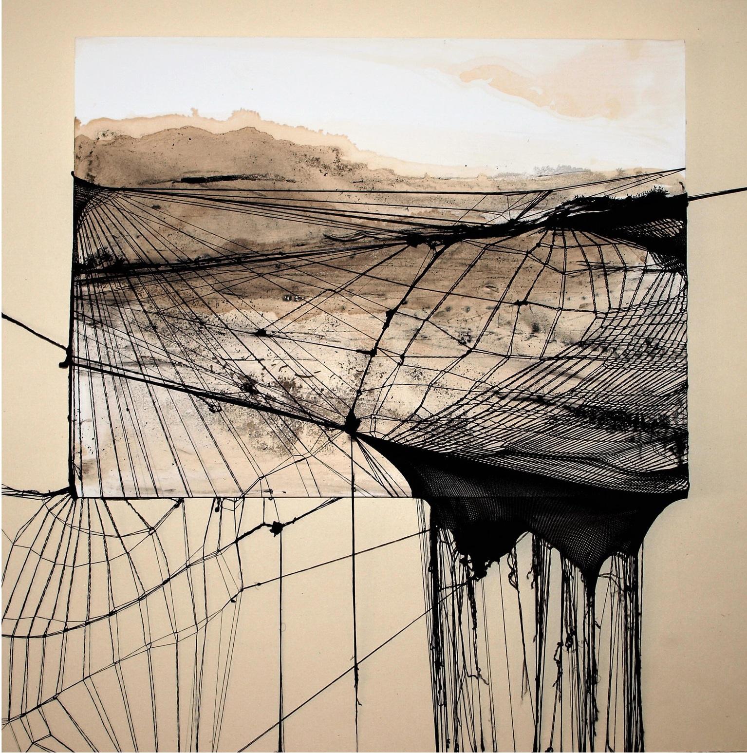 Giulia Nelli     Legami ancestrali   ,  2018  Collants noirs et encre  50 cm x 50 cm