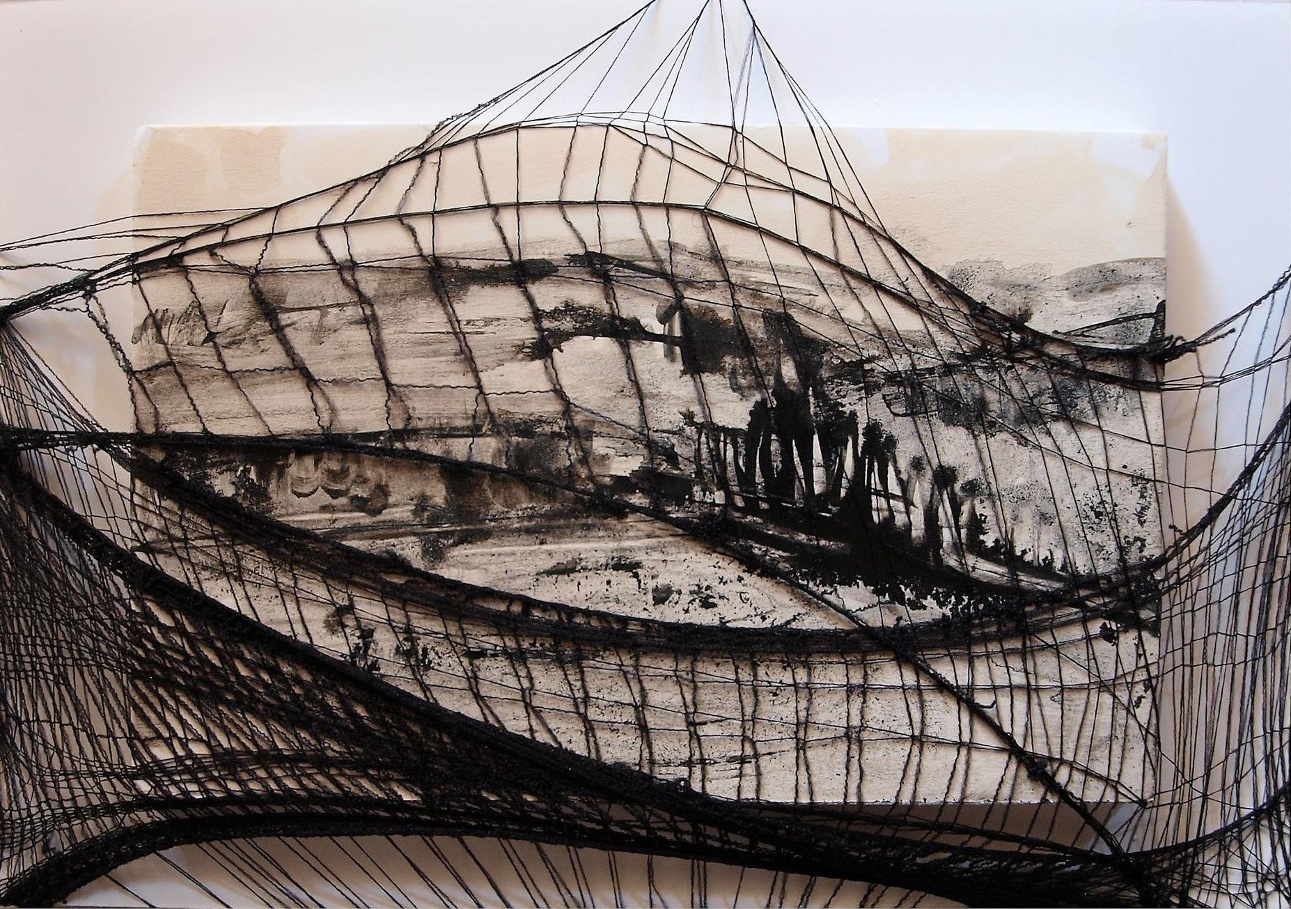 Giulia Nelli     Frammenti di un legame ritrovato  , 2018  Collants marrons et encre  14 cm x 20 cm