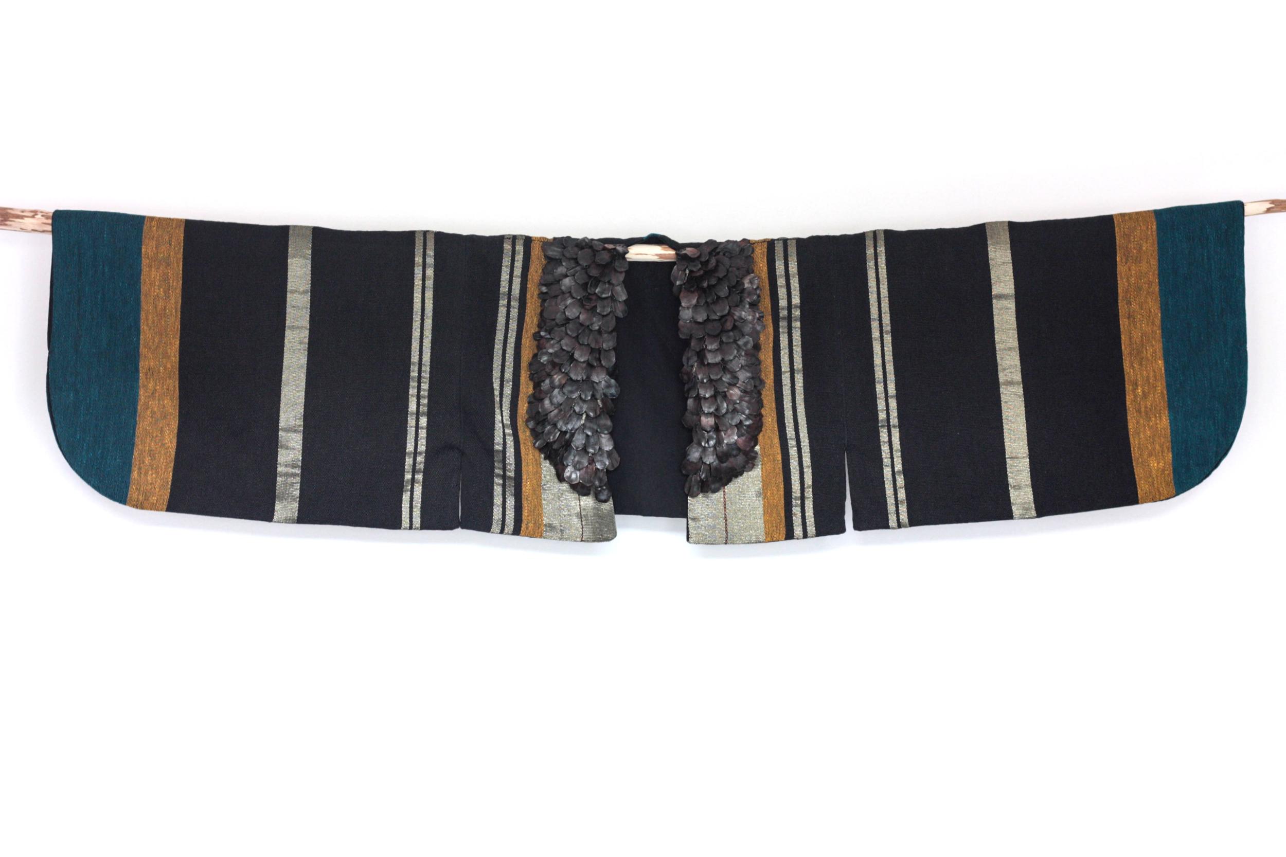 Karine N'guyen Van Tham     En lien  , 2017  Hand-made weaving, sewing, vegetable scales embroidery  Linen, real gold wire, cotton, pine cones  37 cm x 150 cm