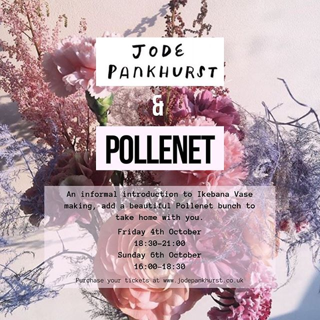 @jodepankhurst is hosting a solo show at @blueshopcottage showcasing her amazing ceramics. There will be some beautiful @pollenet arrangements on display too.  Book tickets for one of the workshops on the 4th and 6th of October and take a beautiful Pollenet bunch home as well as your very own Ikebana vase 💕 Tickets available at the Jode Pankhurst website!