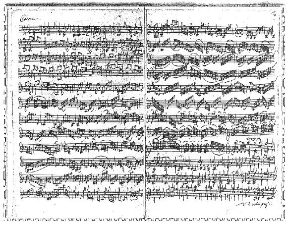The first two pages of the autograph of the Chaconne.
