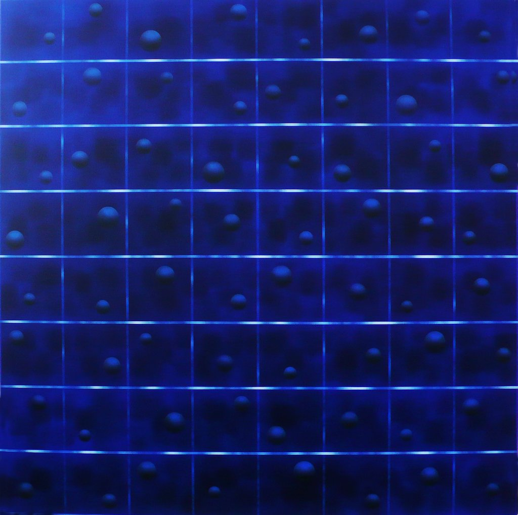 DOTS AND LINES ON CANVAS MF CXXXV   2015  acrylic on canvas 200x200 cm