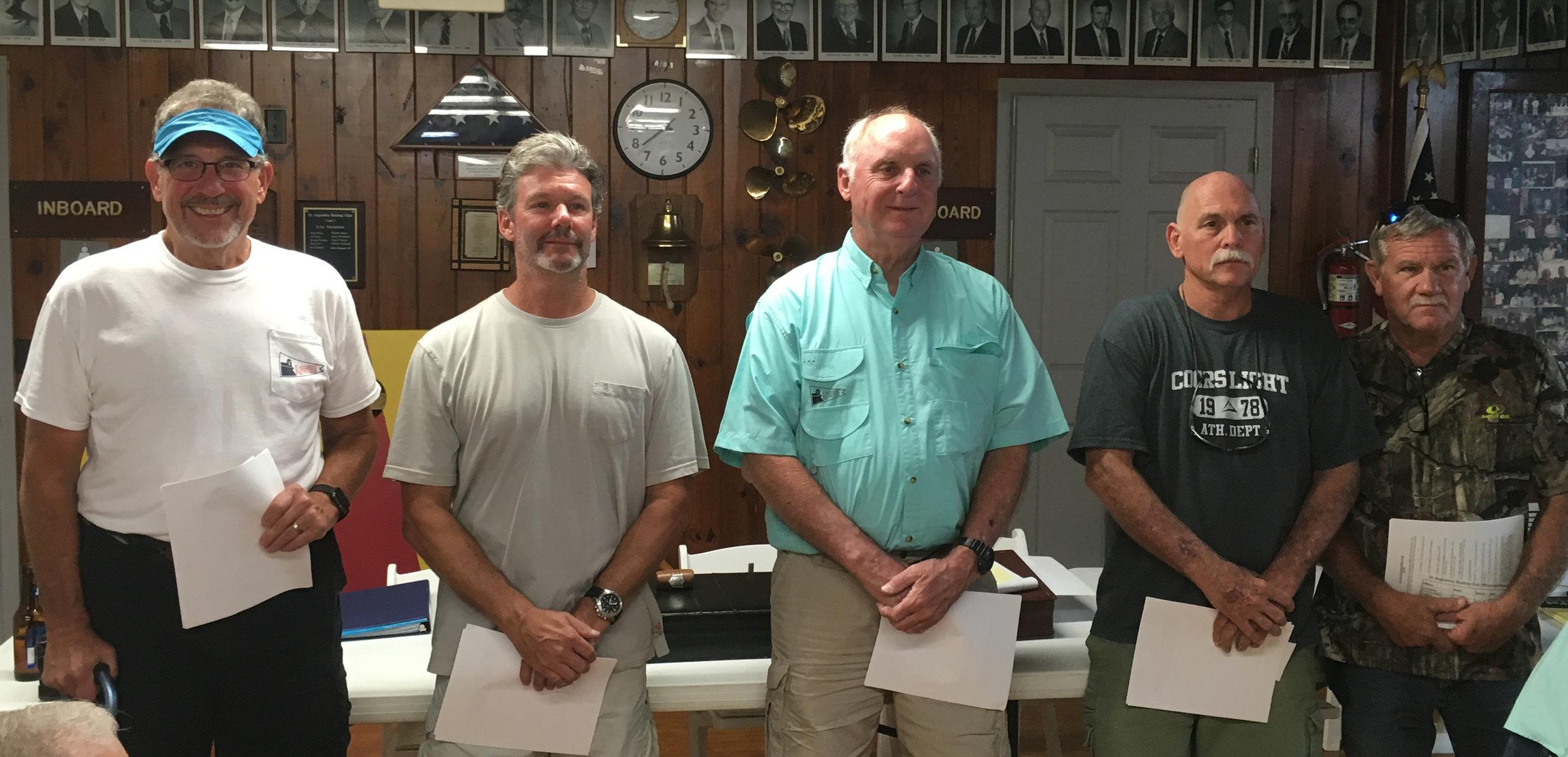 Left to right: Bill Long, Board Member • Scott Gardner, Treasurer • Bill Craig, Recording Secretary • Tommy Hobbs, Commodore • Mike Colee, Board Member