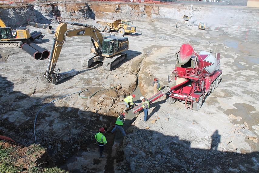 Pouring Concrete into Mud Seam