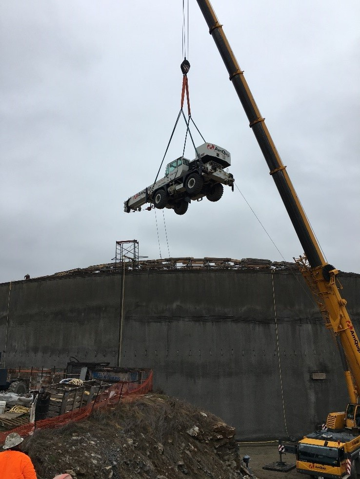 Crane Lifted out of EQ Tank