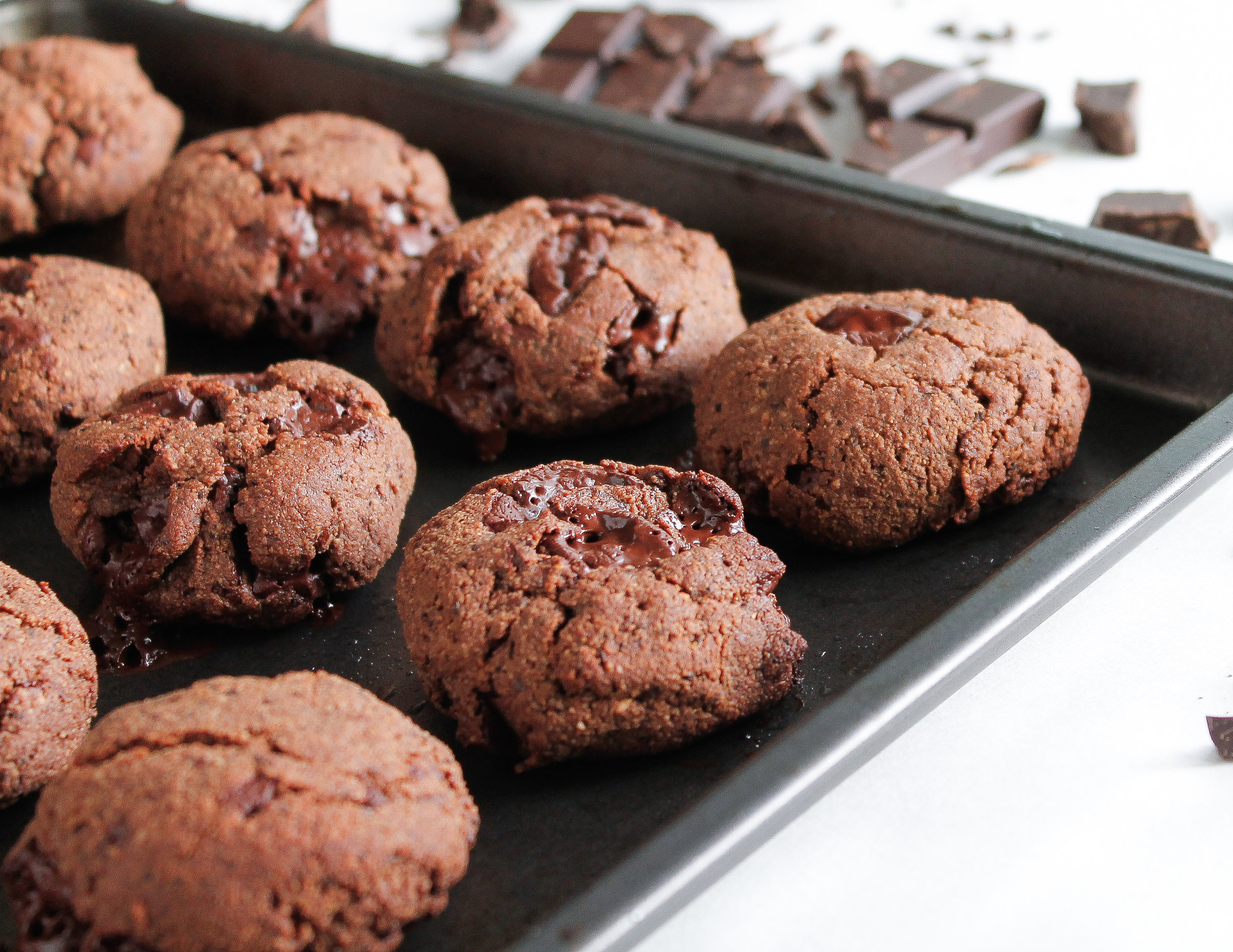 Paleo Double Chocolate Espresso Cookies || These paleo double chocolate espresso cookies are grain free, gluten free, dairy free AND refined sugar free! Made with nourishing ingredients like raw cacao, coconut oil and almond flour, they satisfy your sweet tooth while also nourishing your body. The perfect healthy sweet treat or healthy midday snack. || plentyandwell.com || #paleocookies #chocolatecookies #grainfreebaking #grainfreerecipes
