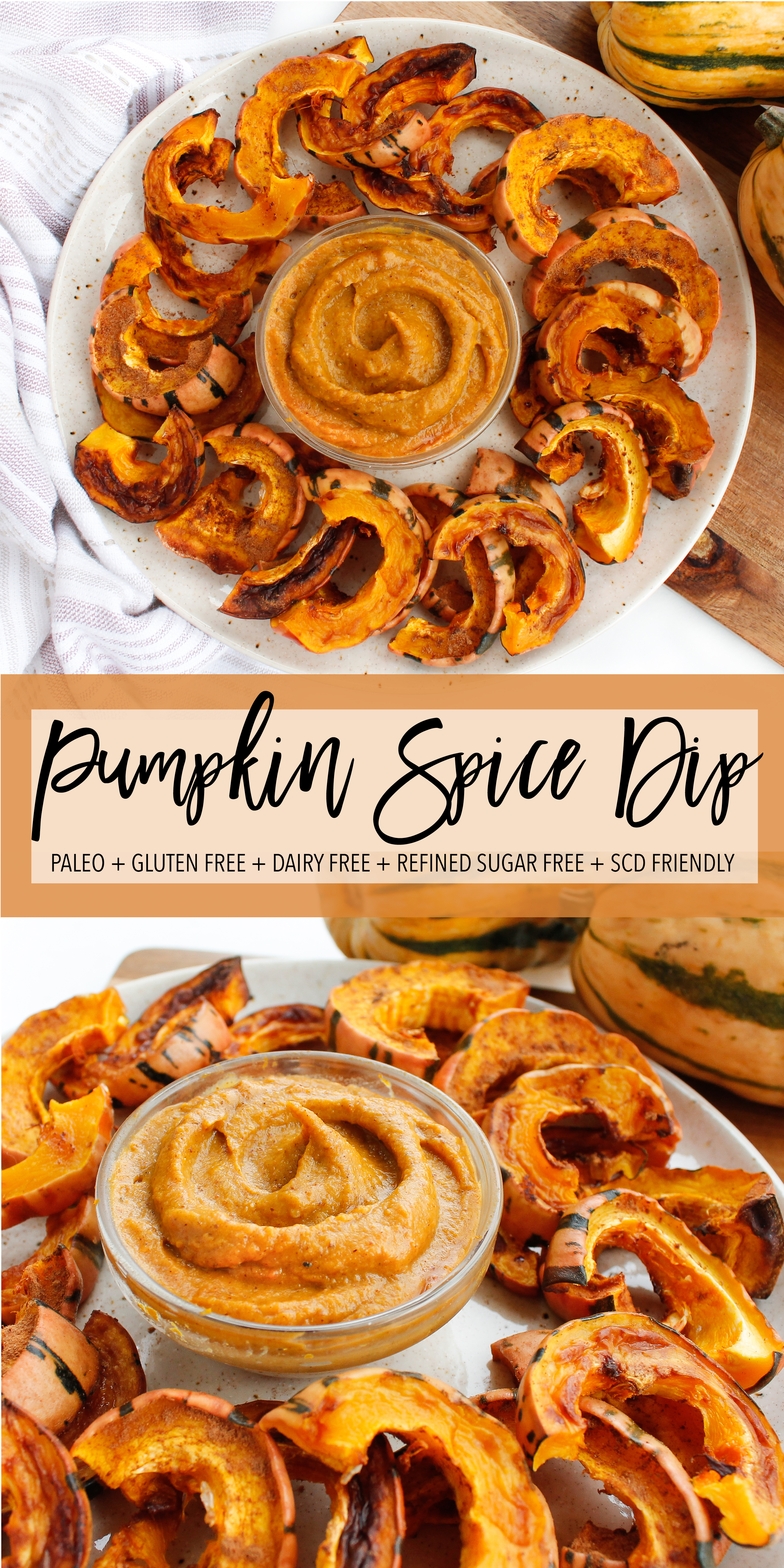 This paleo pumpkin spice dip is a perfect healthy snack or healthy sweet treat! Tastes delicious dipped with roasted squash, carrots, apples or just the spoon! It's paleo, gluten free, dairy free, refined sugar free and Specific Carbohydrate Diet friendly! #scdfriendly #paleo #paleosnack