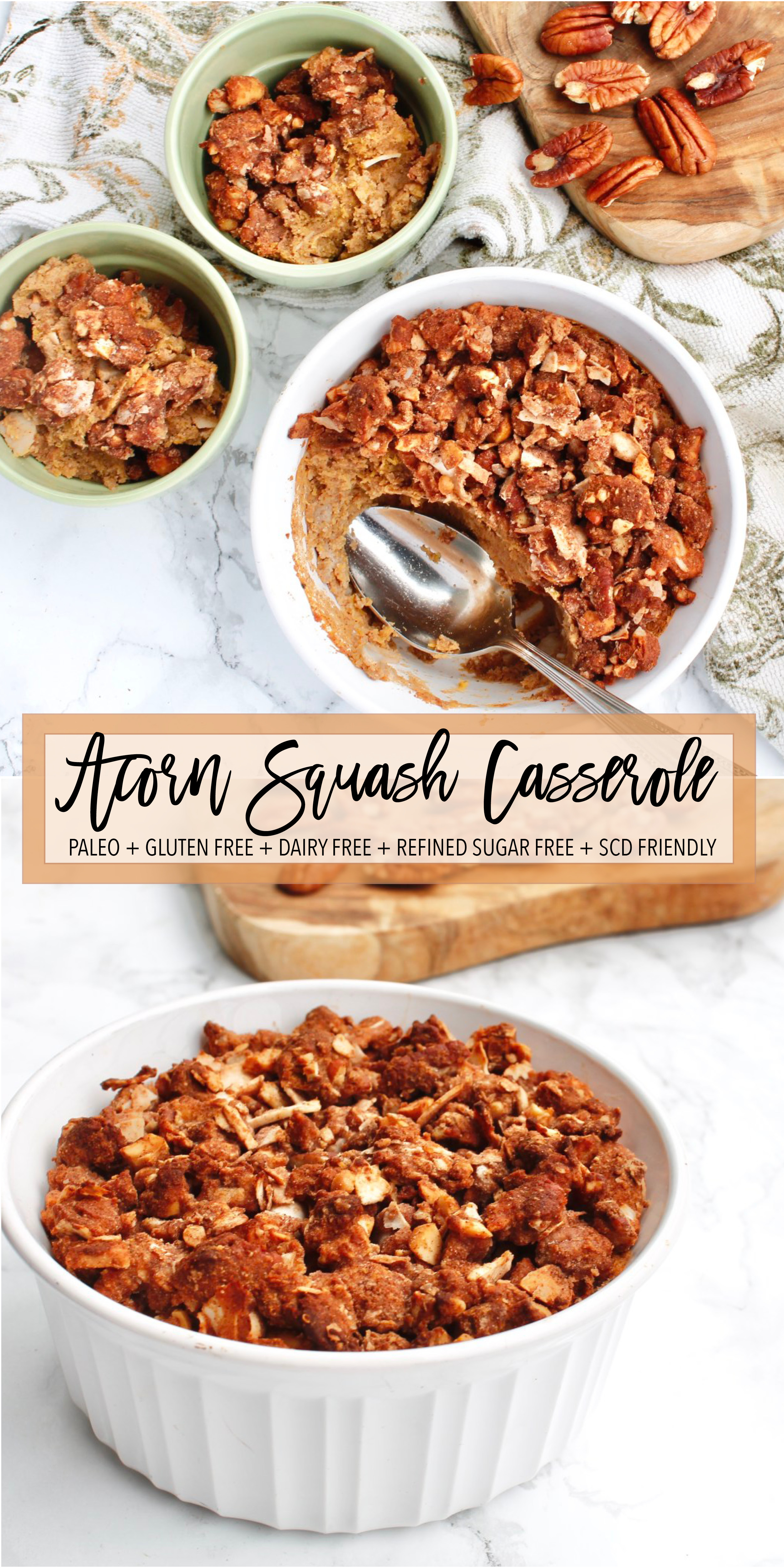 Looking for healthy Thanksgiving recipes? This paleo and dairy free acorn squash casserole is the perfect option! It's grain free, gluten free, refined sugar free and Specific Carbohydrate Diet friendly! It's a great healthy twist on an old classic. Click through to try the recipe! #healthyholidays #healthythanksgiving #paleothanksgiving