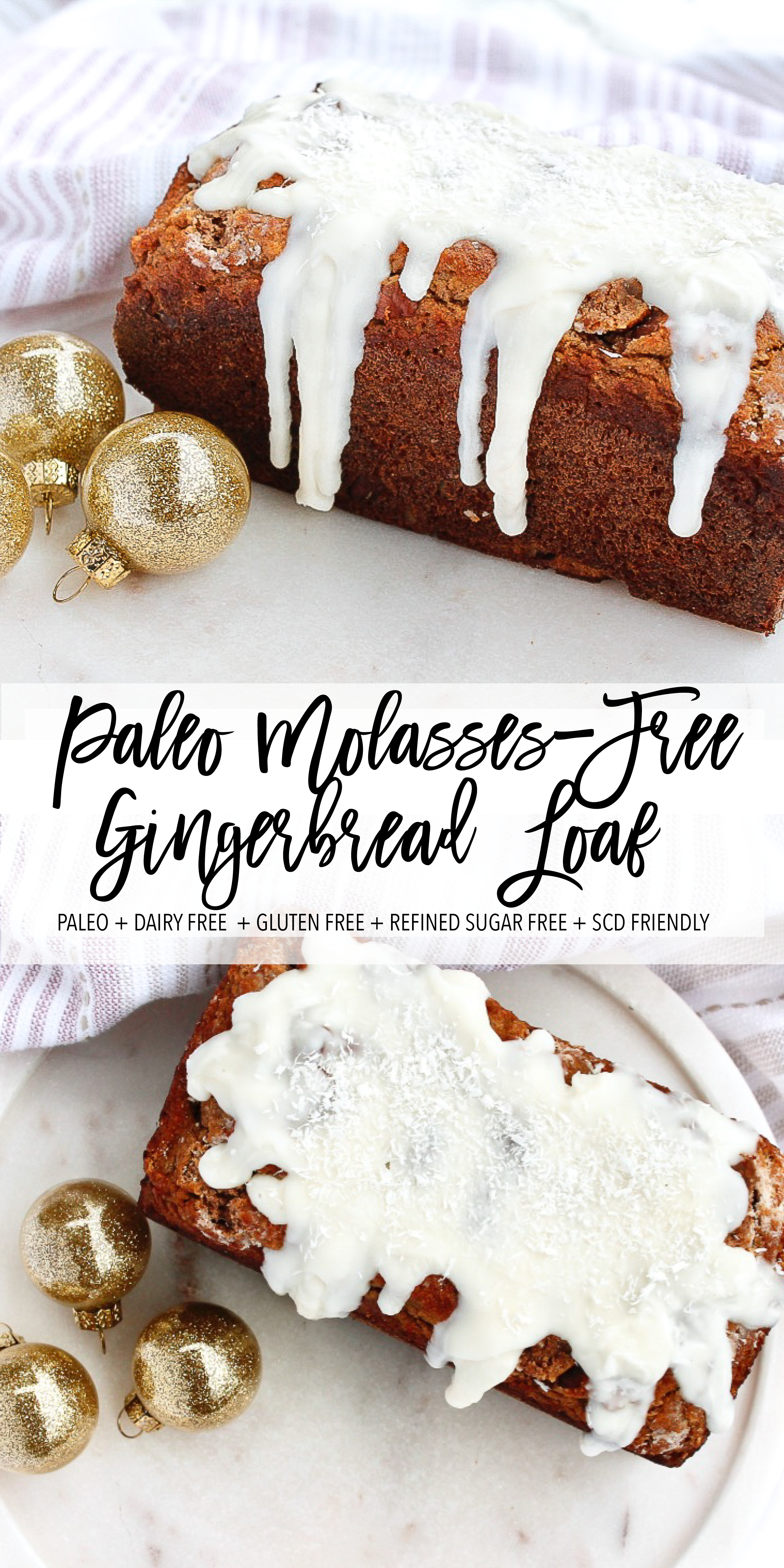 t's officially the season for Christmas treats! This paleo molasses free gingerbread loaf is grain free, gluten free, dairy free, refined sugar free and specific carbohydrate diet friendly! Iced with coconut butter, it makes the perfect healthy Christmas dessert! Click through for the recipe! #paleobaking #paleoholidays #specificcarbohydratediet #healthychristmast