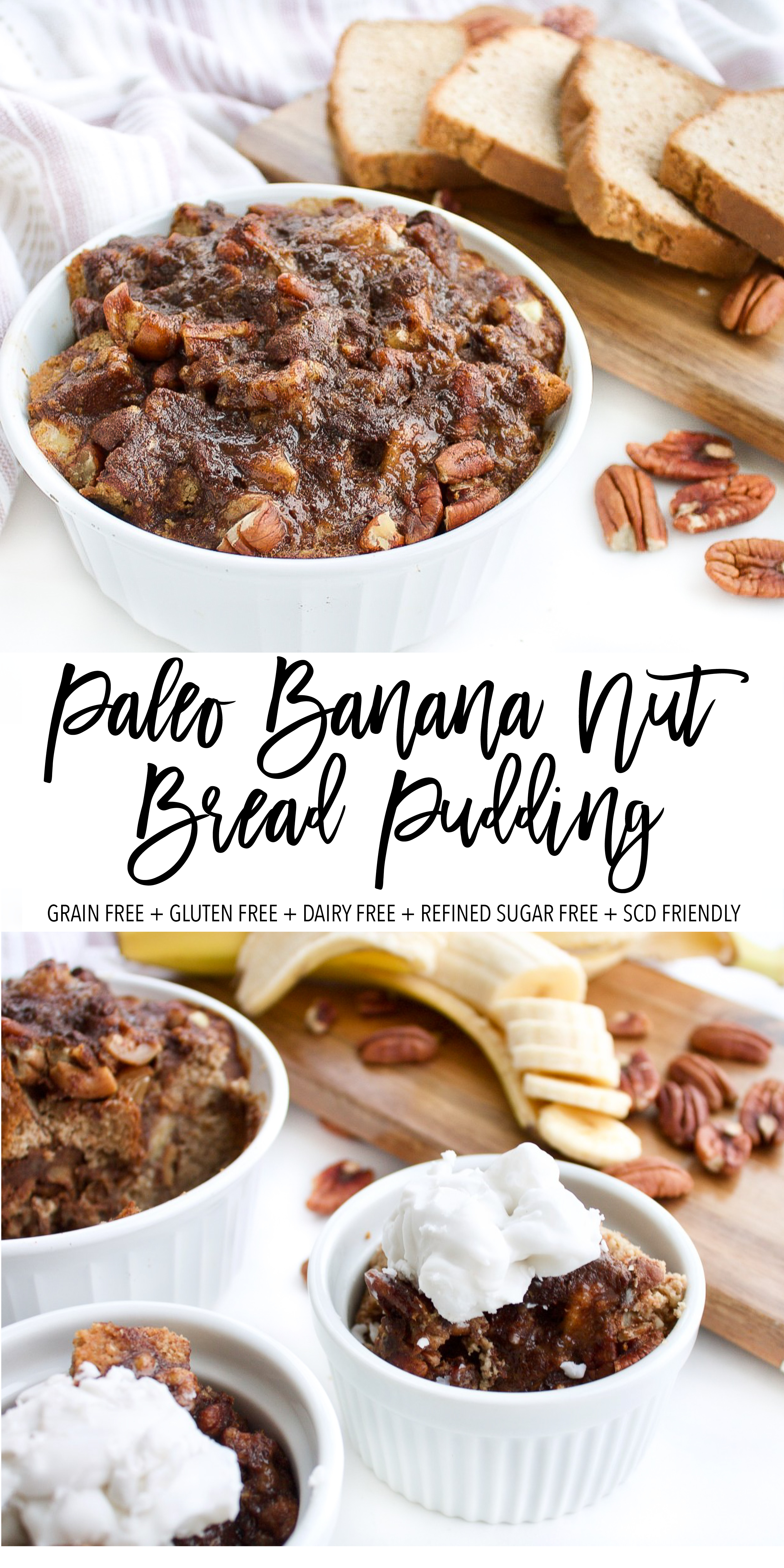 This paleo banana nut bread pudding is a perfect healthy breakfast or healthy desert recipe! It is grain free, gluten free, dairy free, refined sugar free and Specific Carbohydrate Diet friendly! It's the perfect allergy free recipe. Made with real ingredients like coconut flour paleo bread and pecans. Click through the try the recipe for yourself! #paleo #specificcarbohydratediet #antiinflammatory #paleobaking