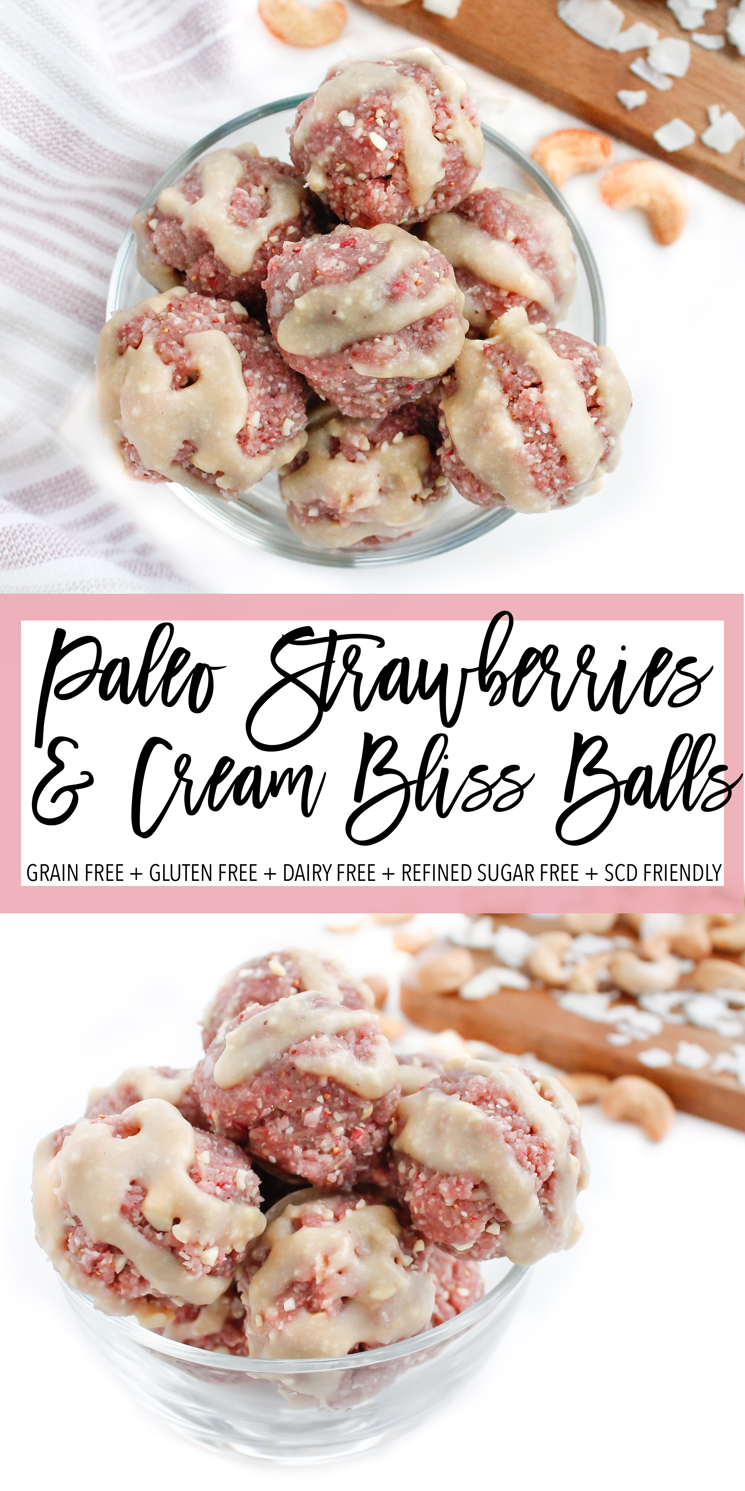These paleo and vegan strawberries and cram bliss balls are the perfect healthy snack or healthy dessert! They are grain free, gluten free, dairy free, refined sugar free and Specific Carbohydrate Diet friendly! They're the perfect allergy free energy ball recipe and are a great healthy kid recipe! #paleo #specificcarbohydratediet #antiinflammatory #energyballs