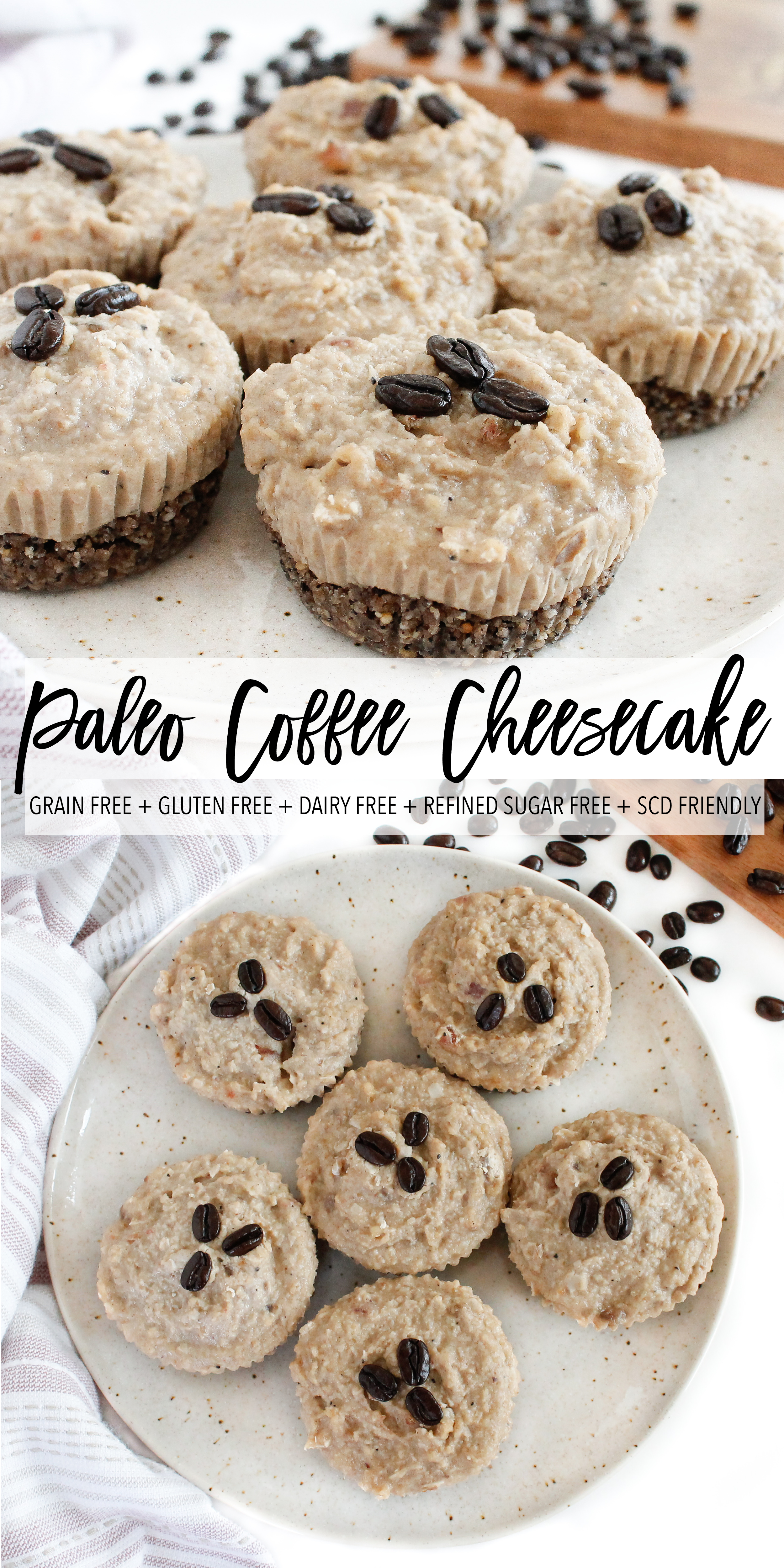 These vegan and paleo coffee cheesecake bites are the perfect healthy dessert option! They're grain free, gluten free, dairy free, refined sugar free and Specific Carbohydrate Diet friendly. And what's better than dairy free cheesecake and coffee!? Click through to try the recipe for yourself! #vegandessert #specificcarbohydratediet #vegancheesecake #paleo