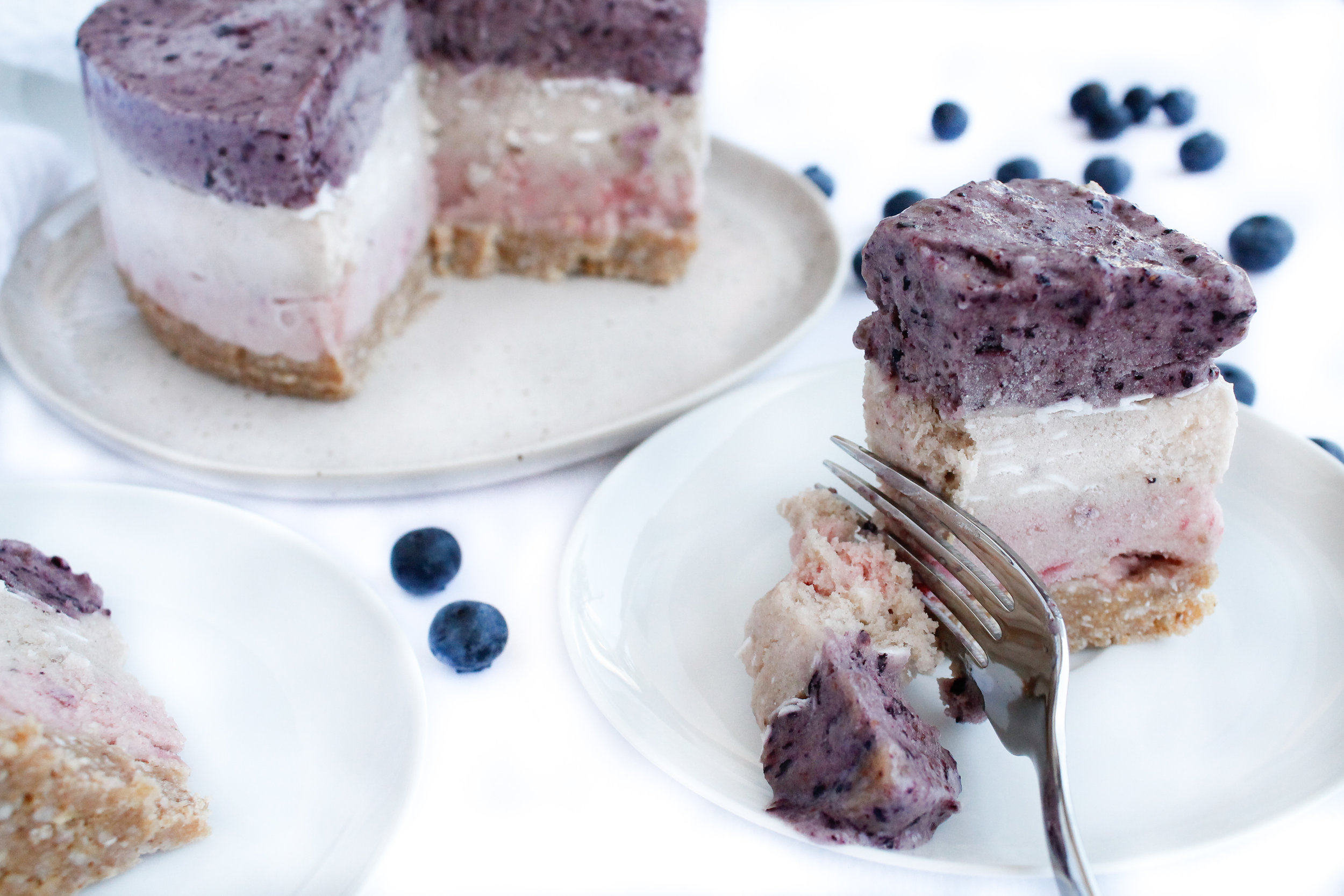 This triple layer vegan banana ice cream cake is a perfect healthy dessert to satisfy your sweet tooth! It's paleo, gluten free, vegan, refined sugar free and Specific Carbohydrate Diet friendly. This sugar free dessert is sure to be a crowd pleaser. It's a perfect allergy friendly recipe and kid friendly recipe too! Click through to try the recipe for yourself! #paleo #vegan #specificcarbohydratediet #sugarfreedessert