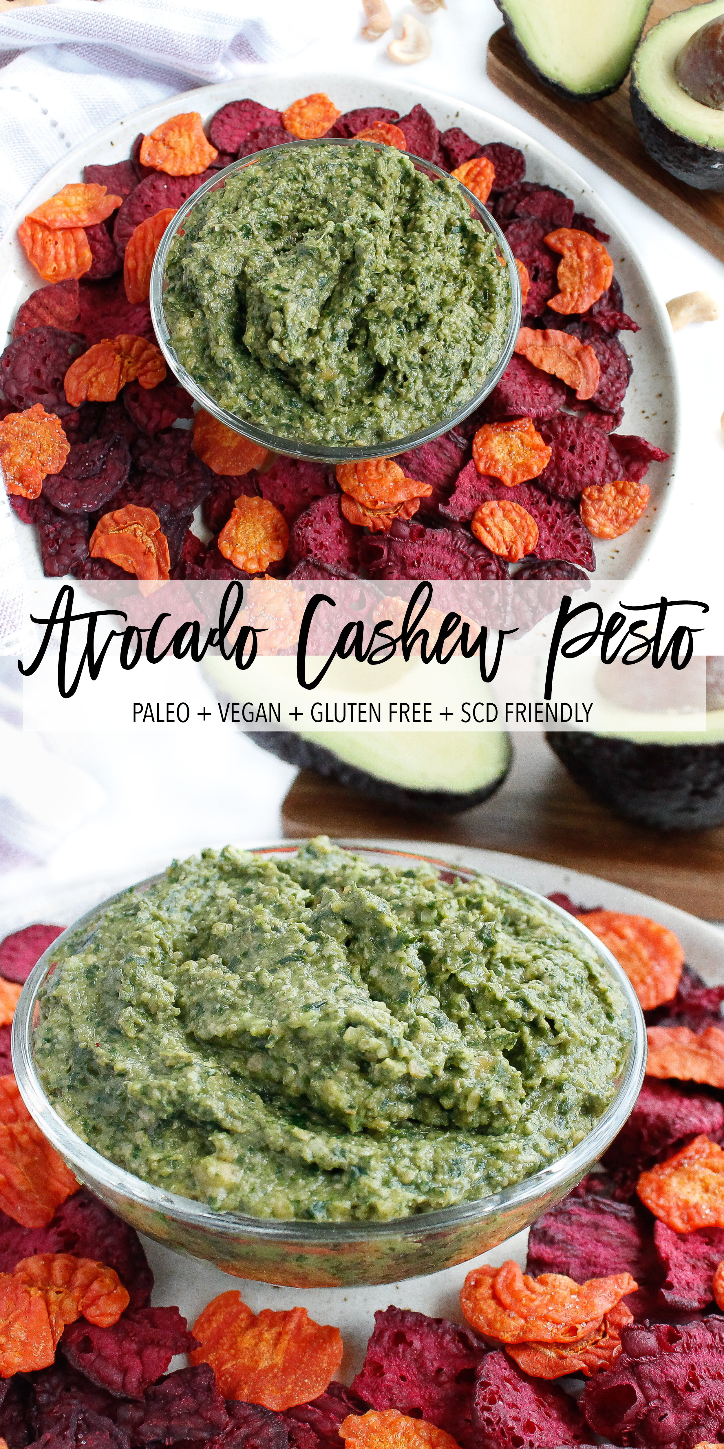 This avocado cashew pesto is a perfect healthy snack option or healthy appetizer! It's paleo, gluten free, vegan and Specific Carbohydrate Diet friendly. This healthy pesto is sure to be a crowd pleaser at your next party. Click through to try the recipe for yourself! #paleo #veganpesto #pesto #specificcarbohydratediet