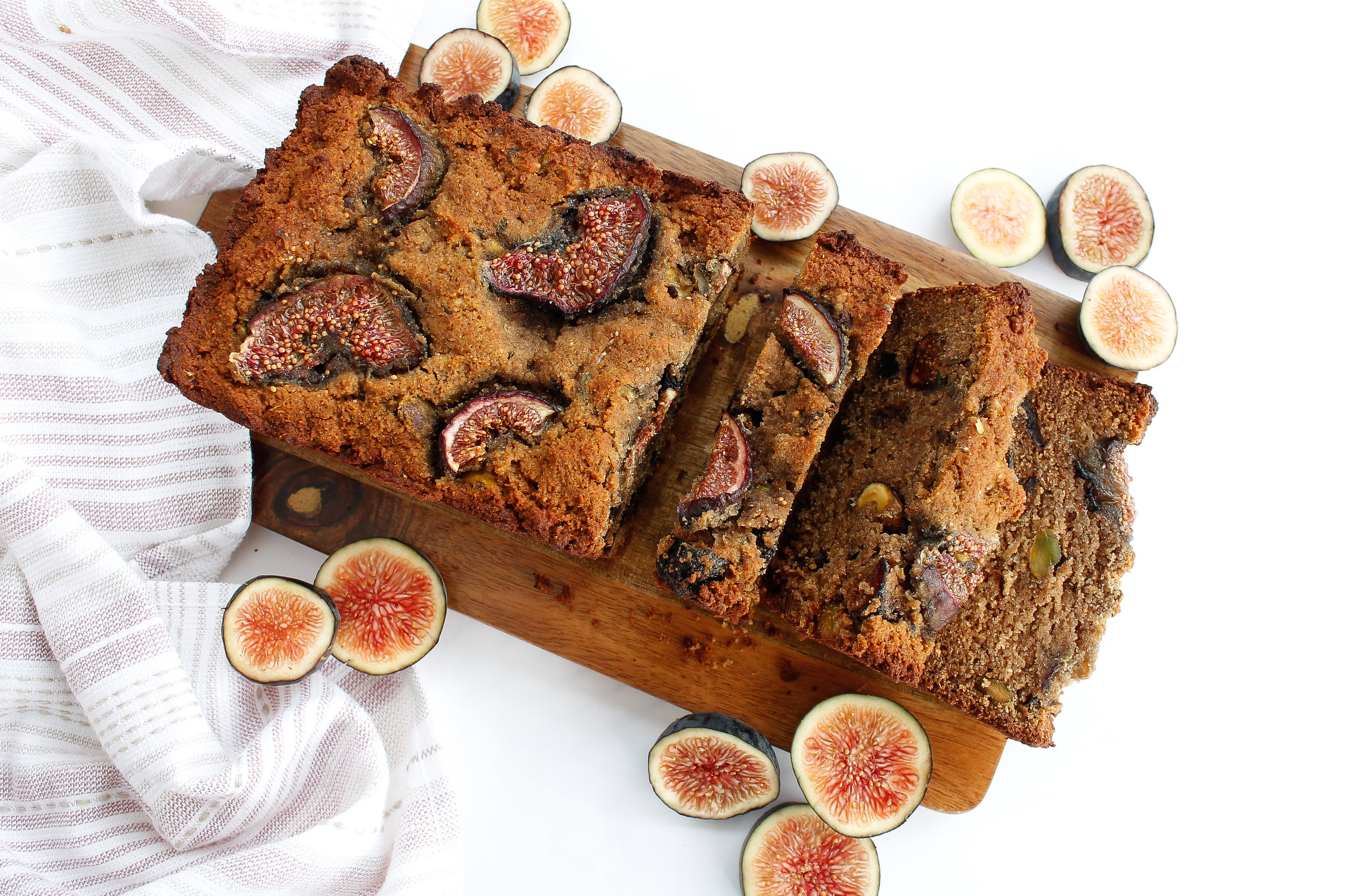 Paleo pistachio fig newton bread makes for the perfect healthy dessert, healthy snack or healthy breakfast! This allergy friendly bread is grain free gluten free, dairy free and Specific Carbohydrate Diet friendly. It is also refined sugar free, making it a healthy option for that sweet tooth. #paleobaking #specificcarbohydratediet #paleo