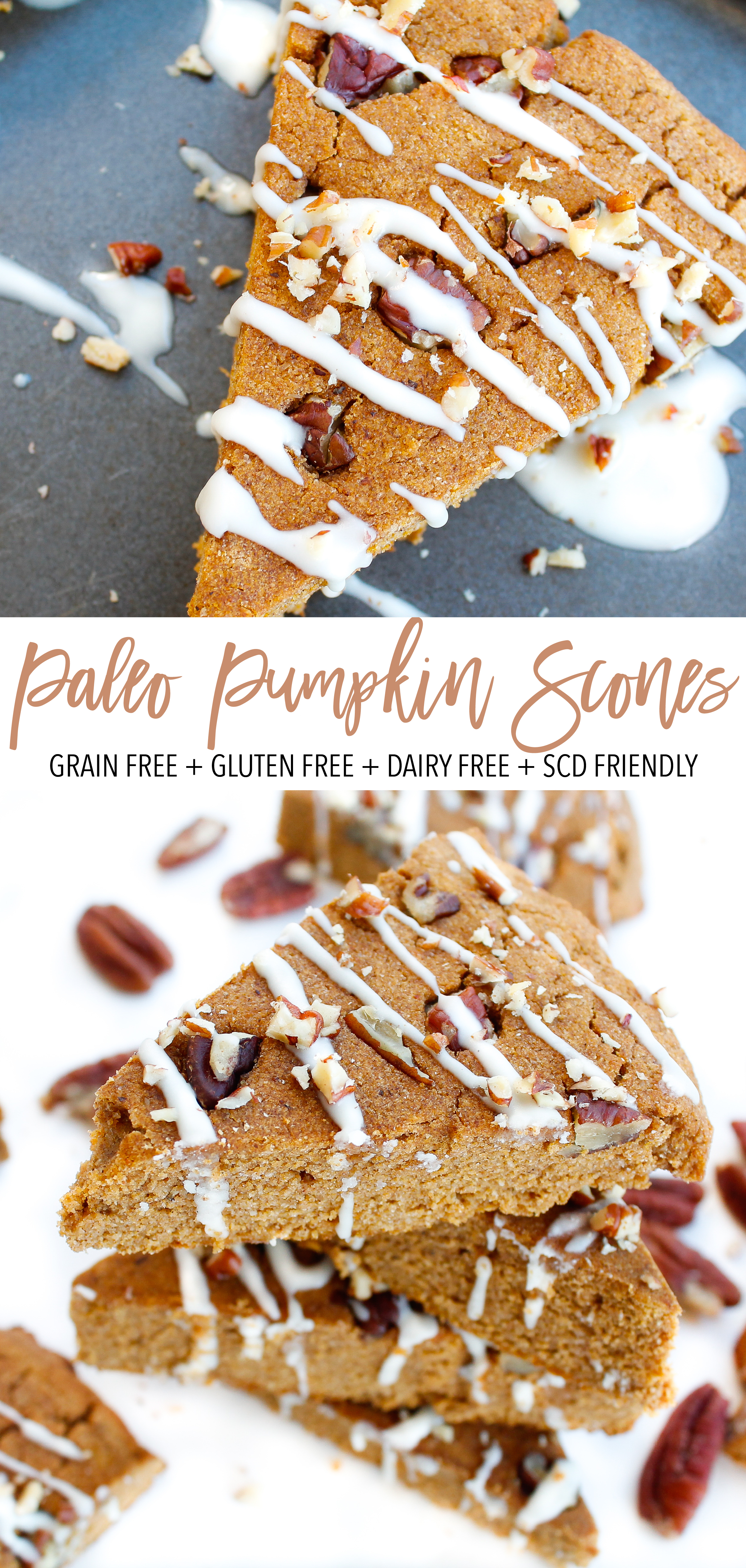 These paleo pumpkin scones are the perfect way to kick off the autumn season! Full of healthy fats and protein they're sure to fuel your whole morning. They're grain free, gluten free, dairy free, refined sugar free and Specific Carbohydrate Diet friendly! // plentyandwell.com // #paleoscones #paleopumpkinscones