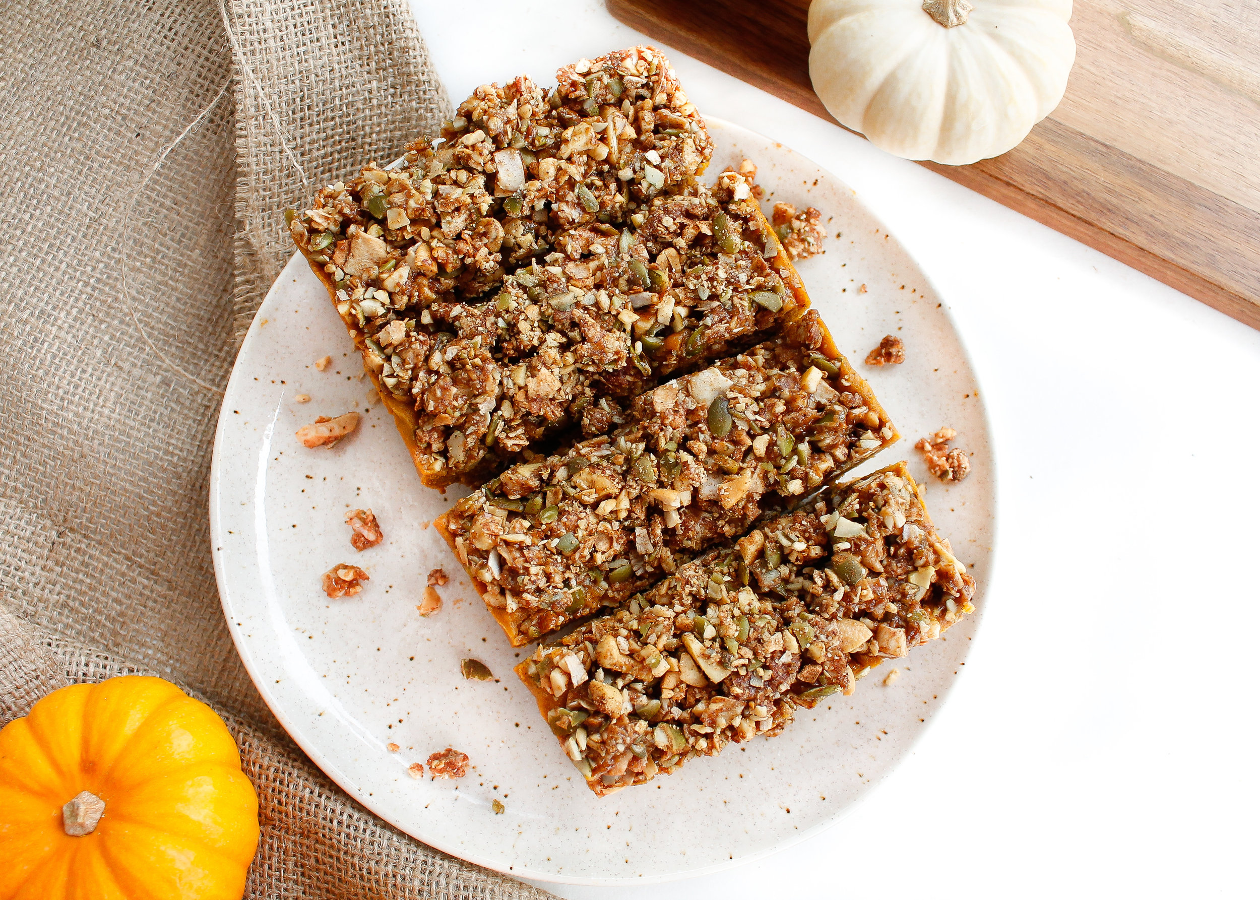 These paleo no-bake pumpkin pie bars are the dreamiest addition to your holidays! They're grain free, gluten free, vegan and refined sugar free. They're also Specific Carbohydrate Diet friendly, making them a perfect low inflammation dessert! A great healthy desert alternative! Click through the try the recipe for yourself! #paleo #paleodessert #specificcarbohydratediet