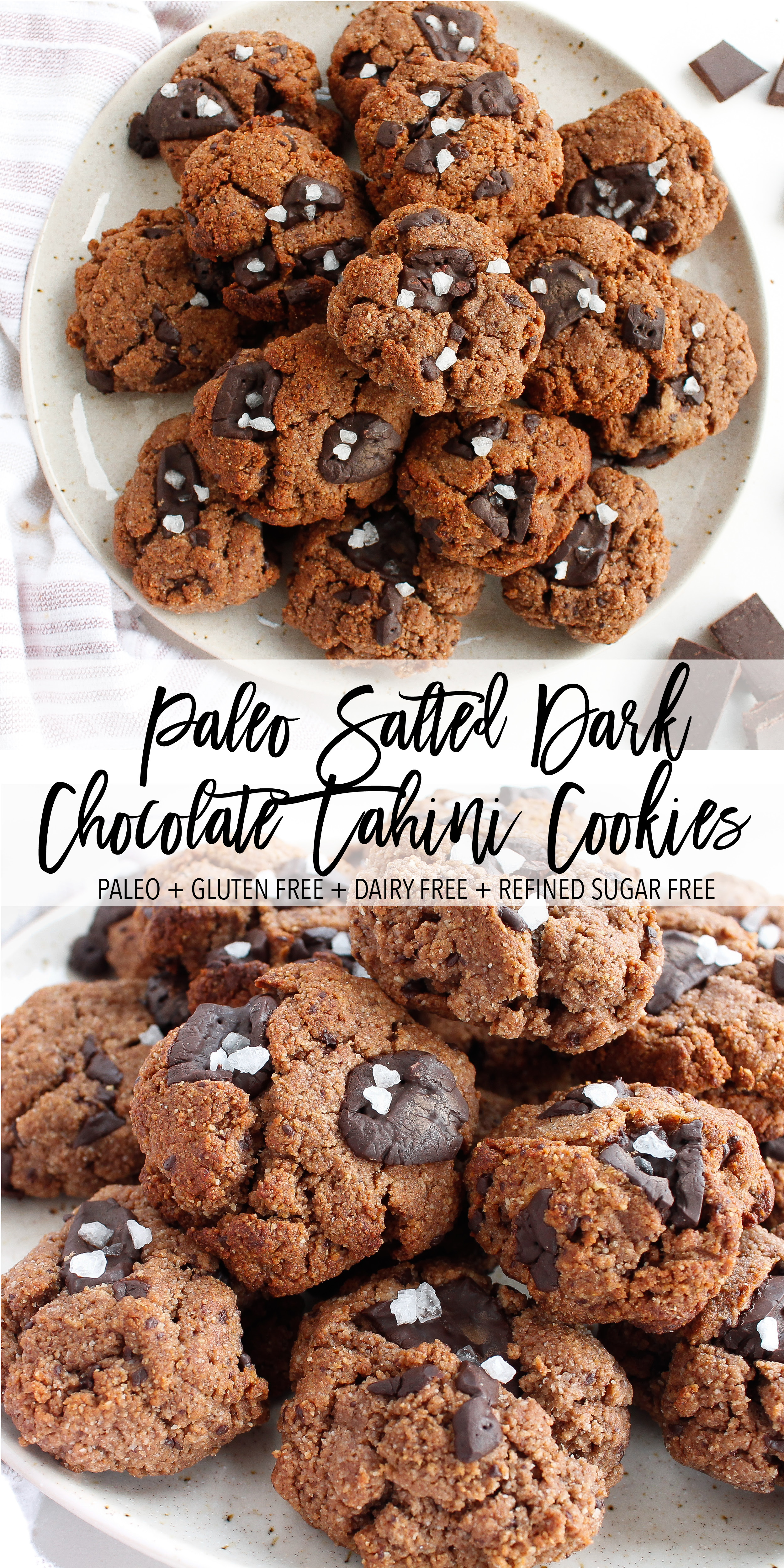 Paleo Salted Chocolate Cookies || These paleo salted chocolate cookies are grain free, gluten free, dairy free AND refined sugar free! Made with nourishing ingredients like raw cacao, tahini and almond flour, they satisfy your sweet tooth while also nourishing your body. The perfect healthy sweet treat or healthy midday snack. || plentyandwell.com || #paleocookies #chocolatecookies #grainfreebaking #grainfreerecipes
