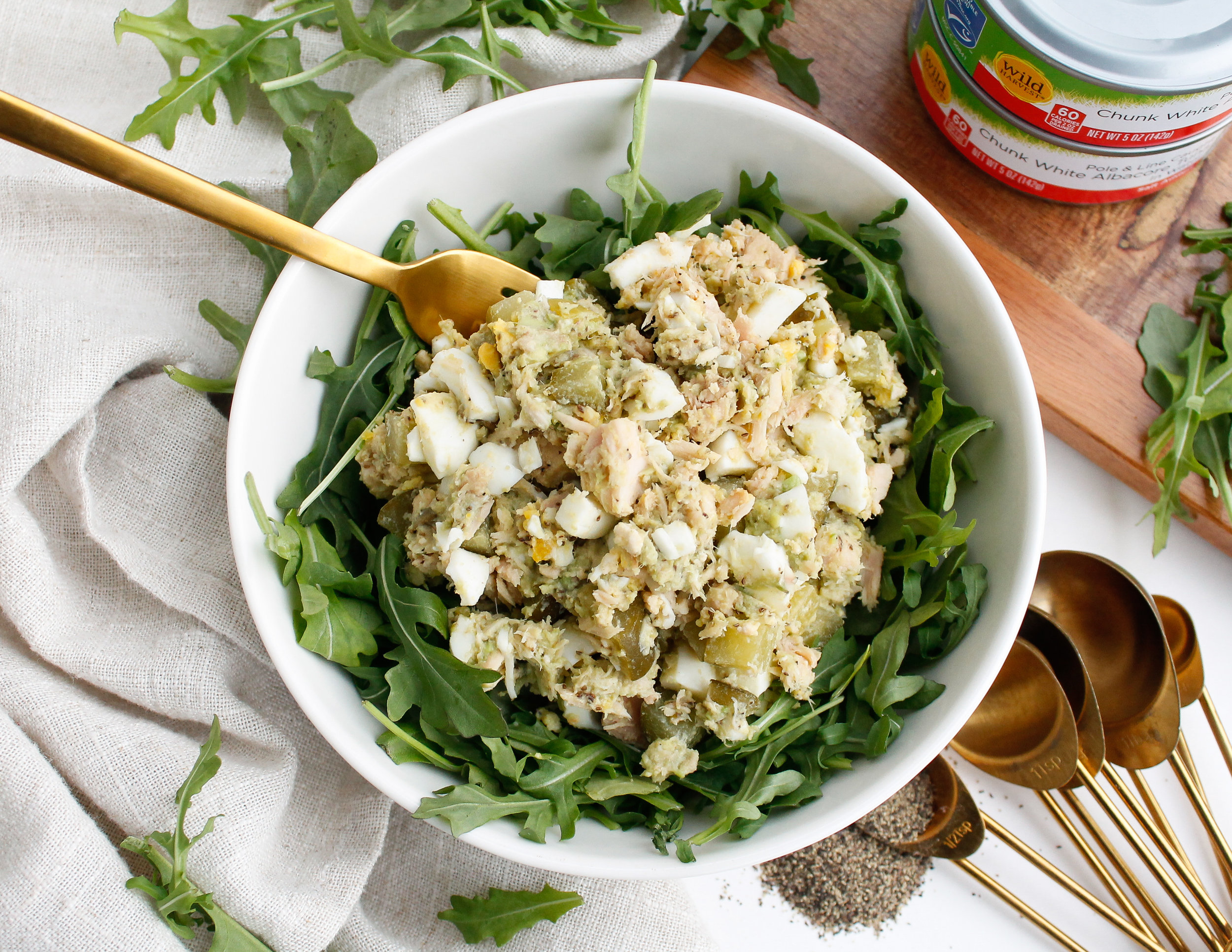 This quick and easy, budget-friendly tuna egg salad is perfect for busy days when you still want something healthy on hand! It's paleo, gluten free, dairy free and Specific Carbohydrate Diet Friendly and is made with Wild Harvest canned tuna. #sponsored Wild Harvest makes a huge variety of products that make eating healthy easier on your wallet. Their products are also free from over 140 undesirable additives in many products today! Click through to see the full recipe! #freefrombad