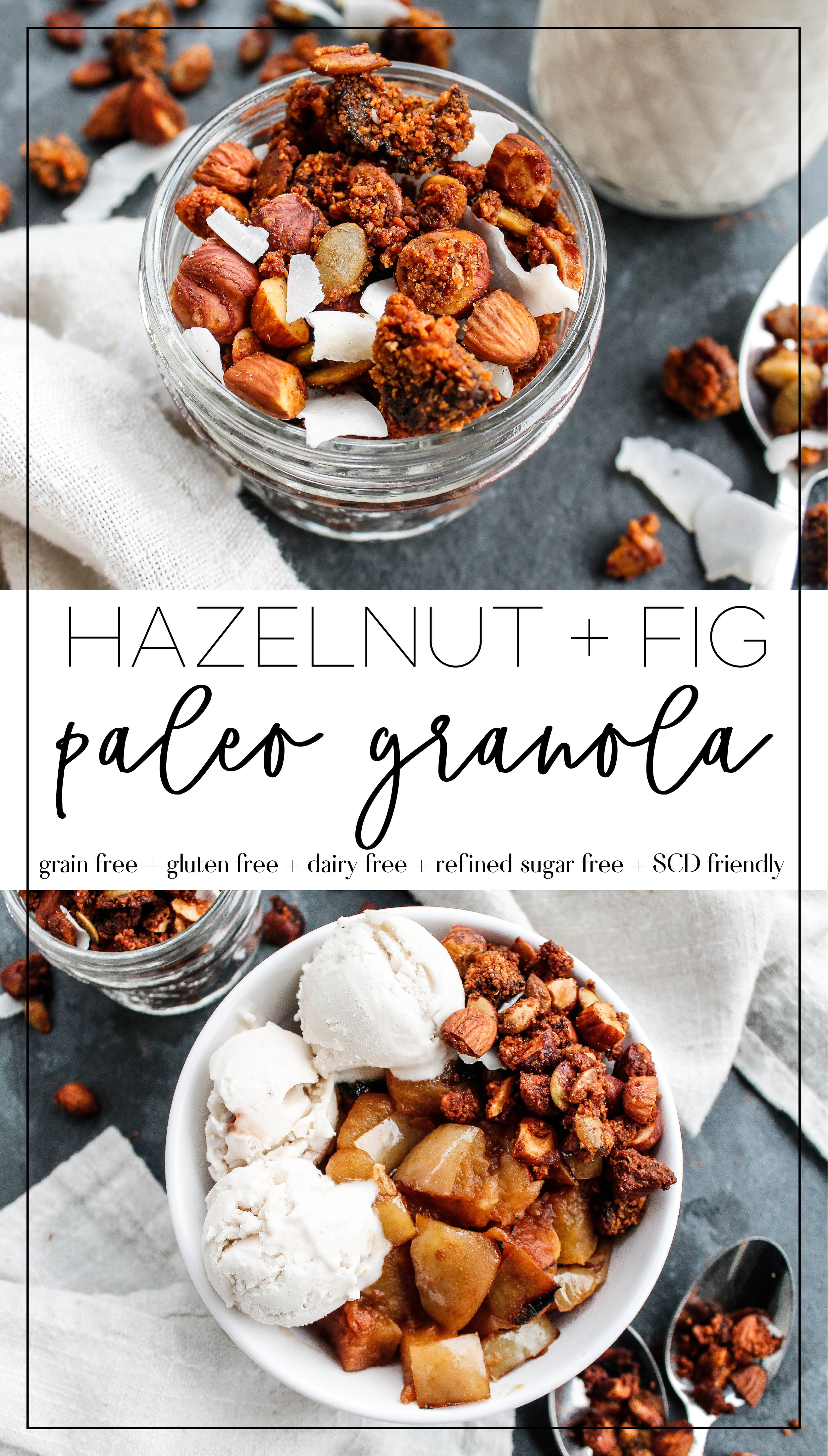 Paleo Hazelnut Fig Granola    This grain free granola is full of nutrients, protein and healthy fats to keep you satisfied! It's also dairy free, refined sugar free and Specific Carbohydrate Diet friendly, making it a great low inflammation and allergy friendly breakfast or snack    #specificcarbohydratediet #grainfreegranola #paleogranola #paleobreakfast #paleorecipes #scddiet    plentyandwell.com