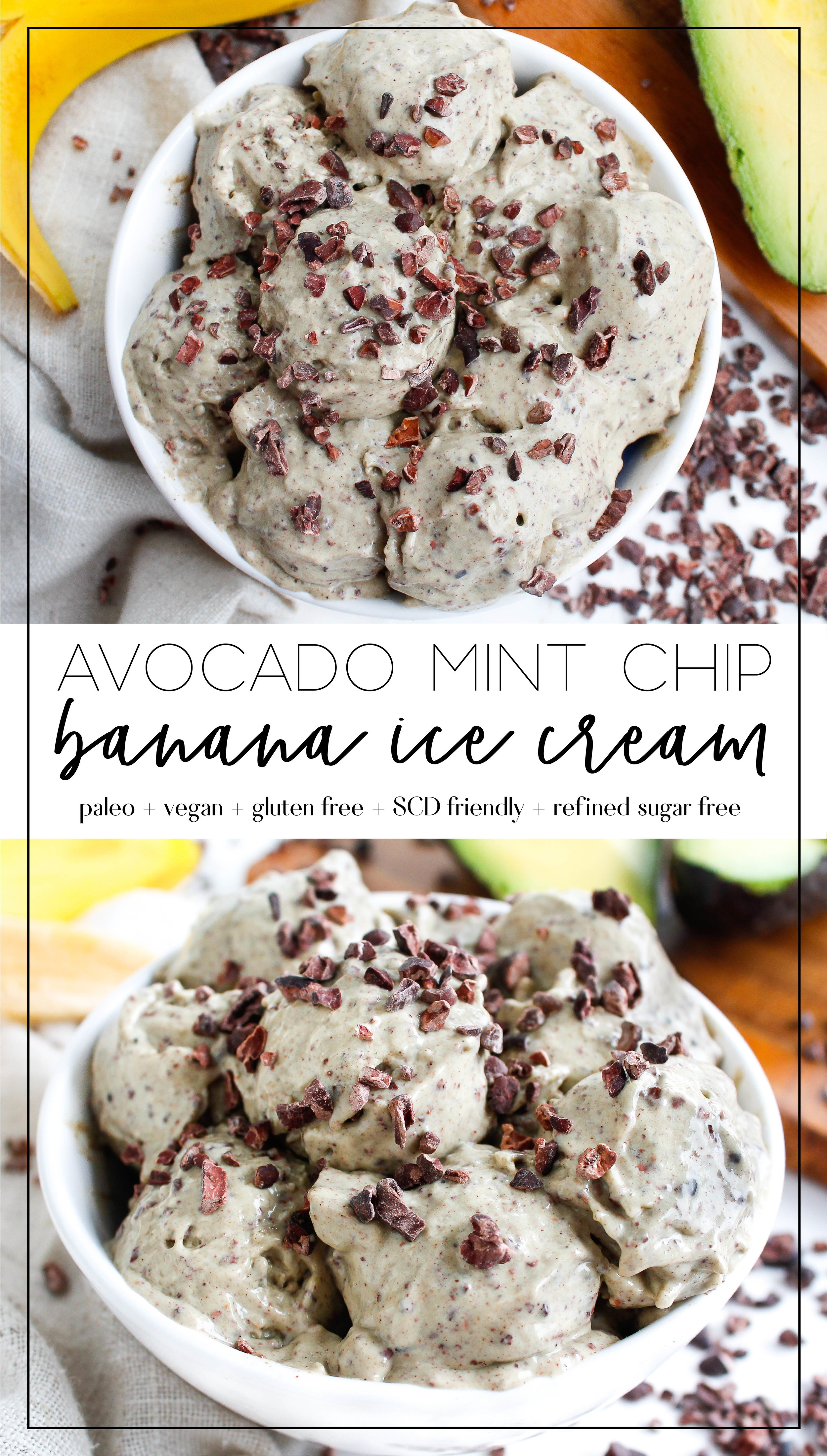 This paleo and vegan avocado mint chip banana ice cream is the perfect way to satisfy your sweet cravings without compromising your health or gut health! It's refined sugar free and gluten free as well! Full of healthy fats, antioxidants and fruity goodness. #paleodessert #bananaicecream