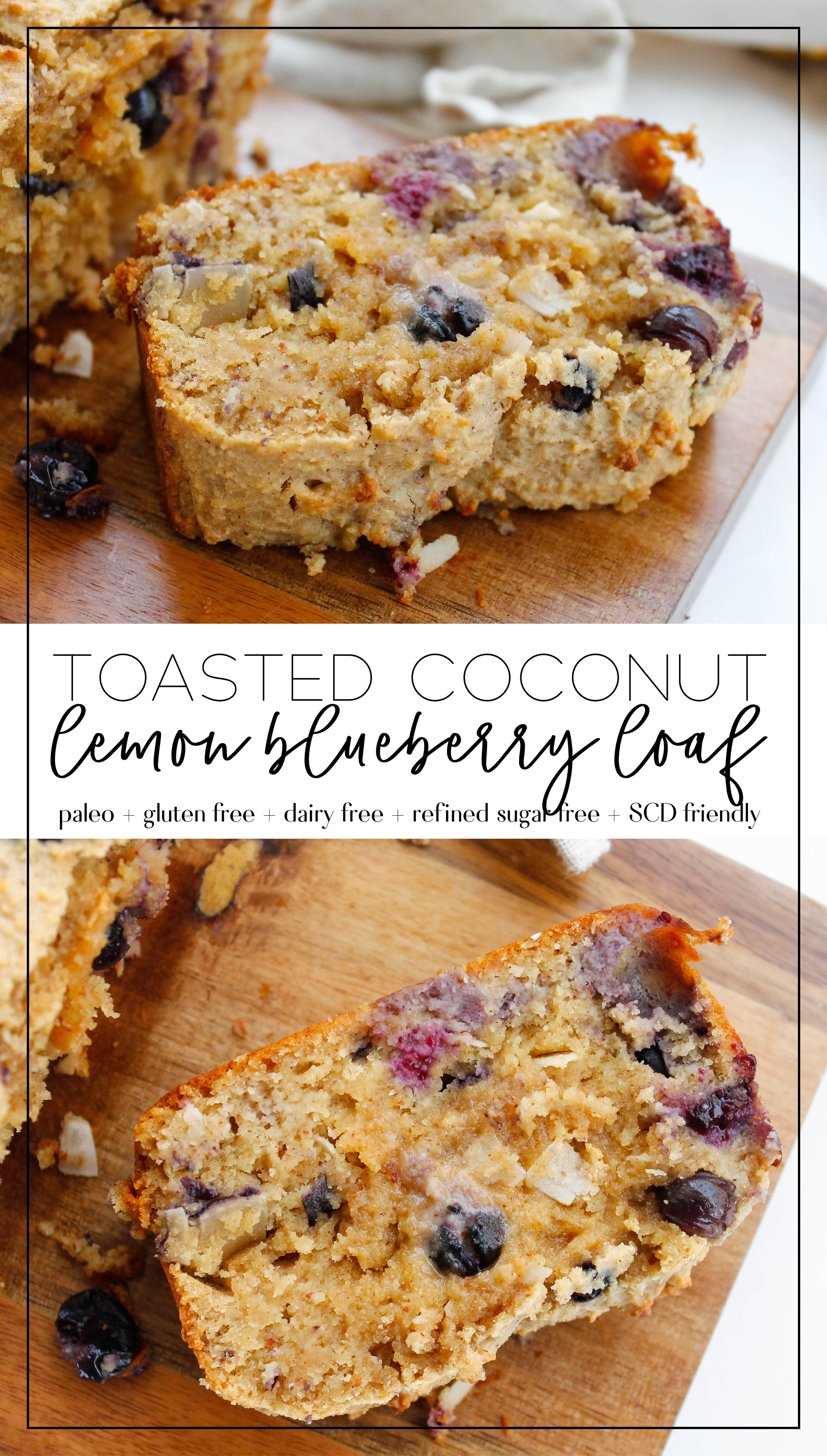 Paleo Toasted Coconut Lemon Blueberry Bread || This bread is perfectly zesty for summertime! Full of nutrients and healthy fat but free from gluten, dairy and refined sugars. It's also Specific Carbohydrate Diet friendly! Click through for the full recipe.