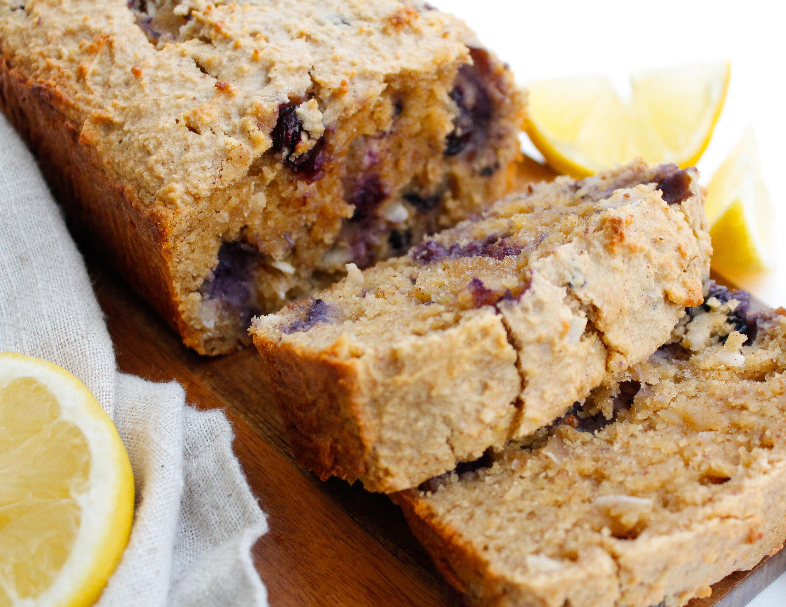 paleo lemon blueberry bread
