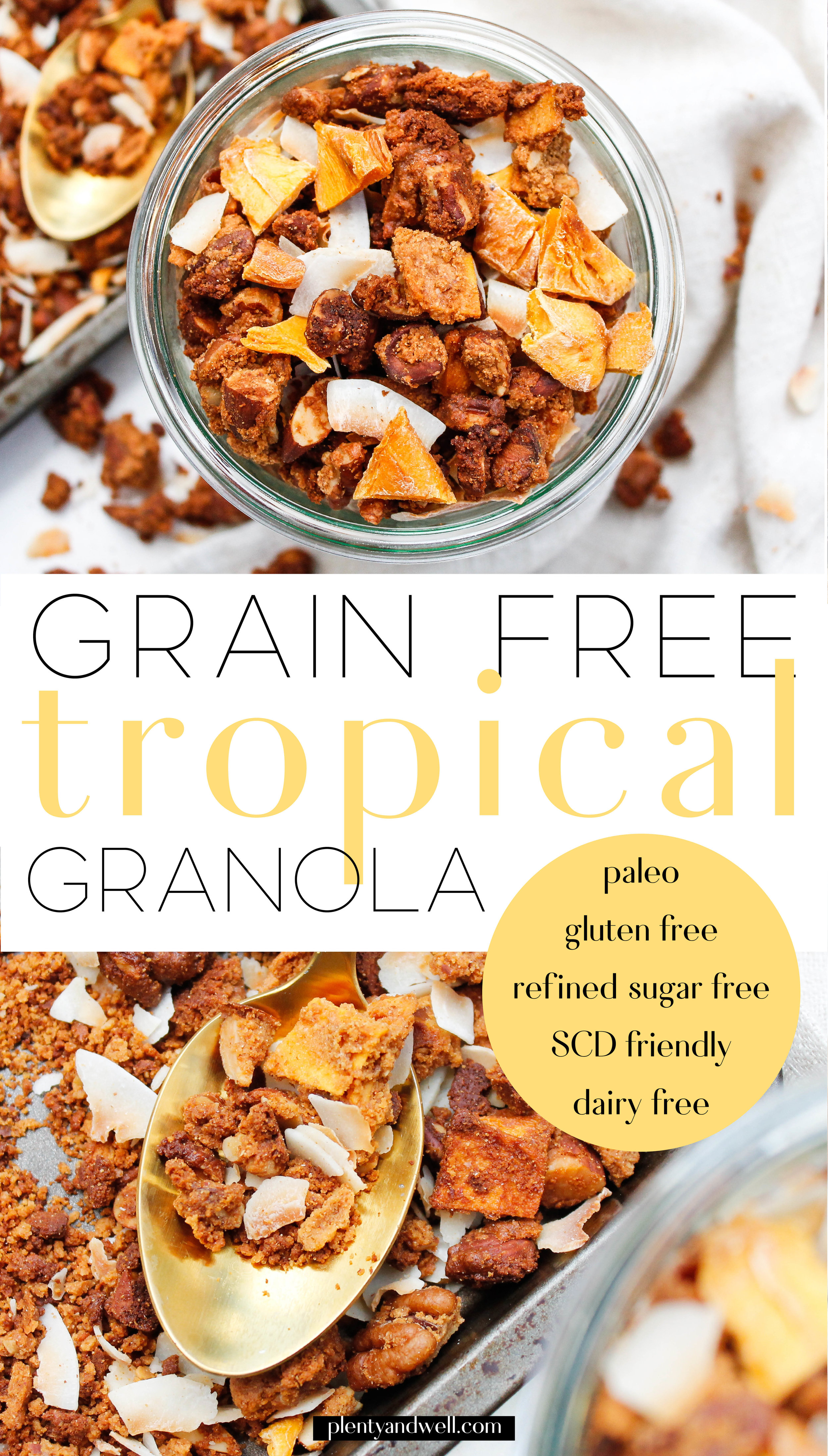 Paleo Tropical Granola || This grain free granola is the perfect smoothie topper, healthy snack or healthy sweet treat! It's also gluten free, dairy free (easily made vegan), refined sugar free and Specific Carbohydrate Diet friendly! With the mix of dried mango and toasted coconut it's like each bite transports you to the beach! Click through for the full recipe. || plentyandwell.com || #paleogranola #grainfreegranola #grainfreeliving #specificcarbohydratediet
