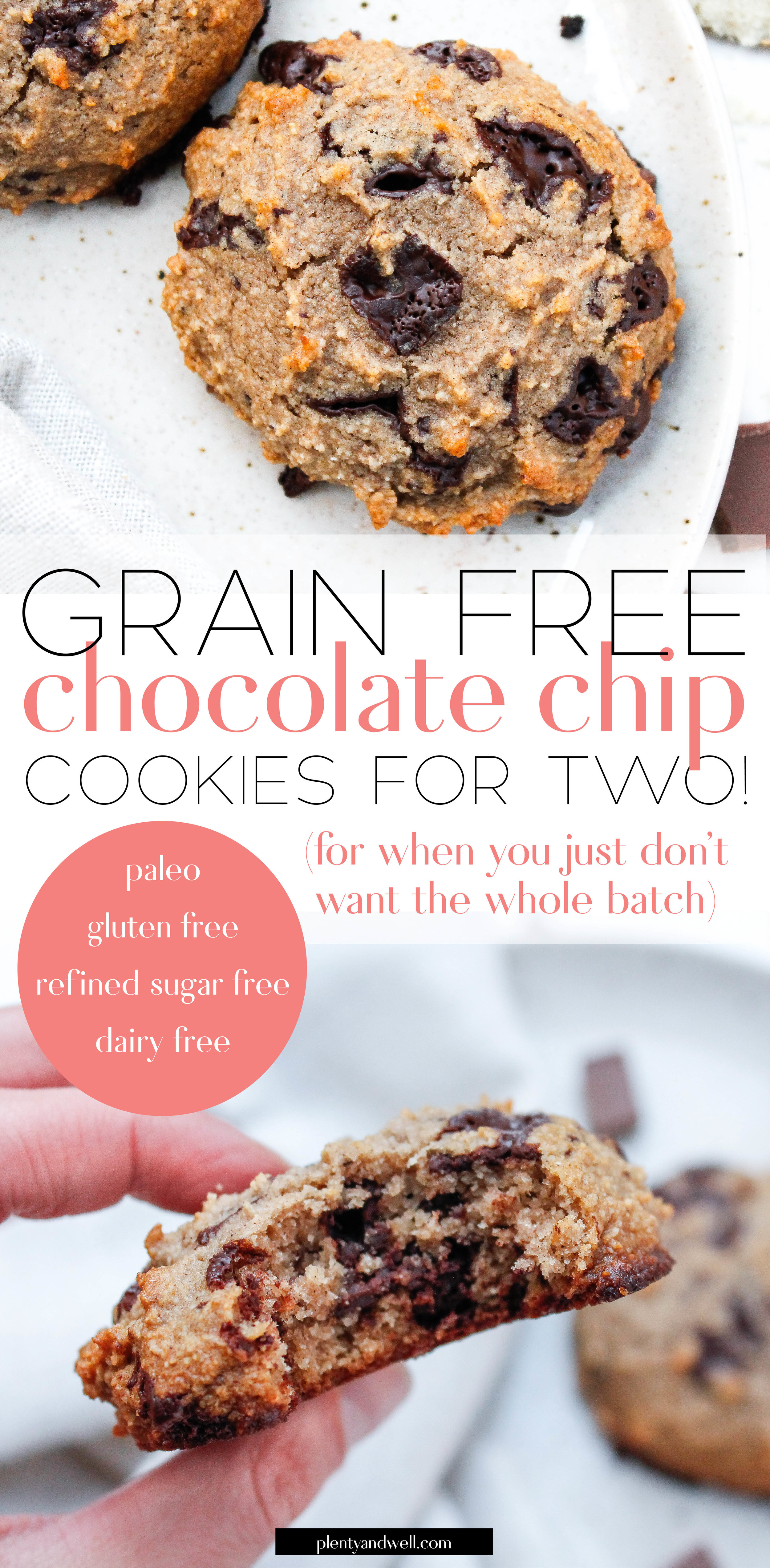 Paleo Chocolate Chip Tahini Cookies    Do you ever want a cookie but just don't want to make a full batch? SAME. This recipe is the perfect solution (because you can never truly just have ONE). These cookies are grain free, gluten free, dairy free, refined sugar free and can easily be made Specific Carbohydrate Diet friendly by using nuts and dried fruit instead of chocolate!    plentyandwell.com    #paleocookies #paleobaking #singleservecookies