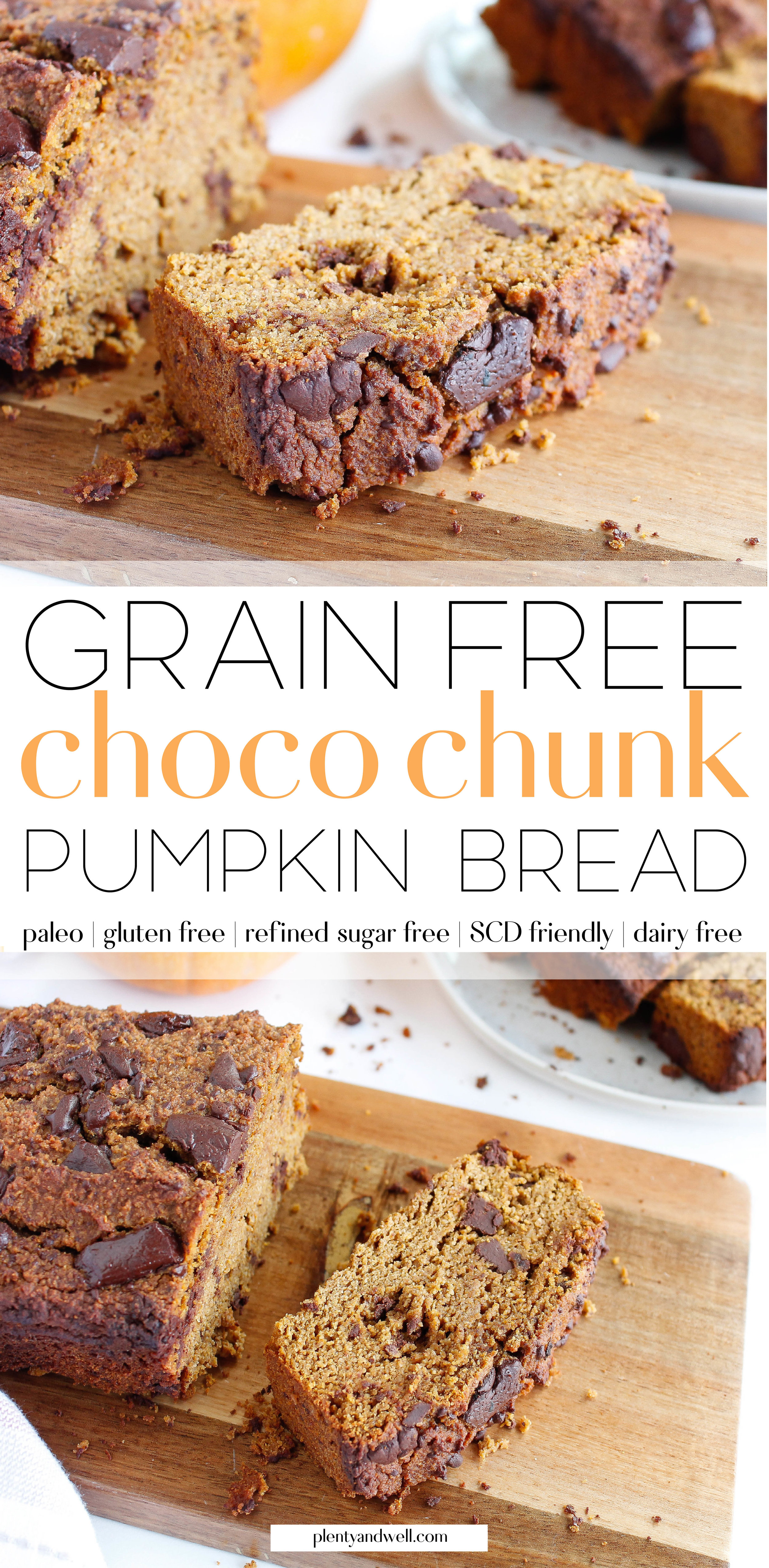 This paleo chocolate chip pumpkin bread is the perfect fall recipe! It makes for a great healthy snack, healthy breakfast or even healthy dessert! It's grain free, gluten free, dairy free AND refined sugar free, also making it a great allergy friendly recipe. Click through the try the recipe for yourself!