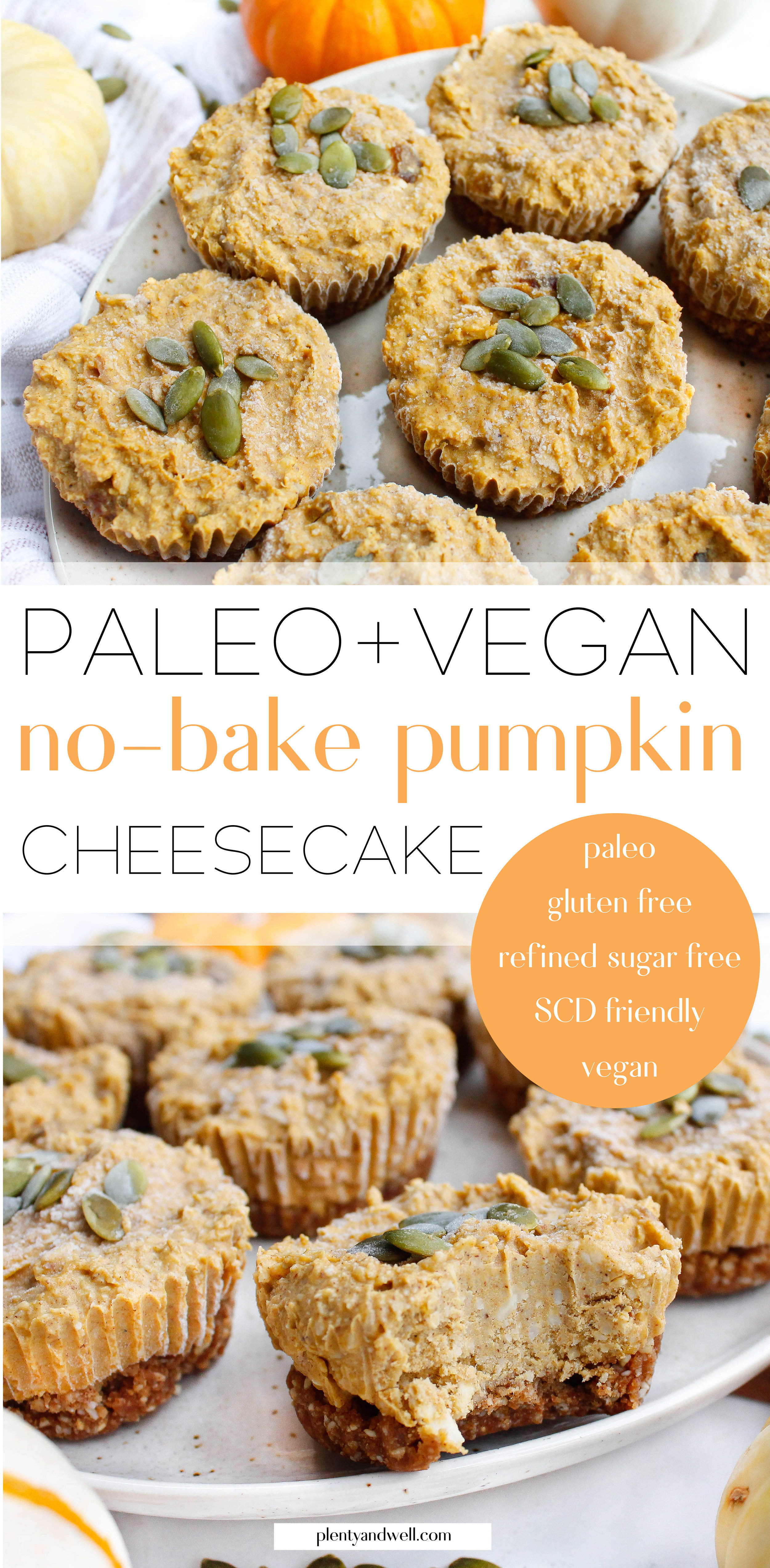 These paleo pumpkin cheesecake bites are the perfect way to say goodbye to pumpkin season! They're also vegan if you sub the honey for maple syrup and they're refined sugar free, grain free, gluten and dairy free and specific carbohydrate diet friendly! They're the perfect healthy, allergy-free holiday dessert. Click through for the recipe! #paleobaking #paleocheesecake #vegancheesecake #specificcarbohydratediet